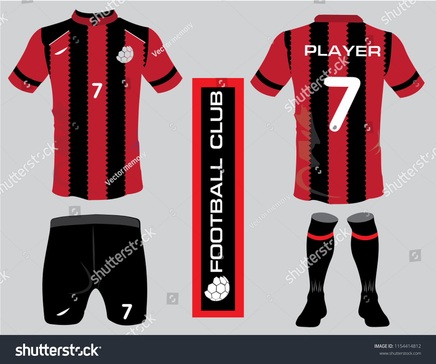Set Red Of Soccer Kit Or Football Jersey Template For Club Black