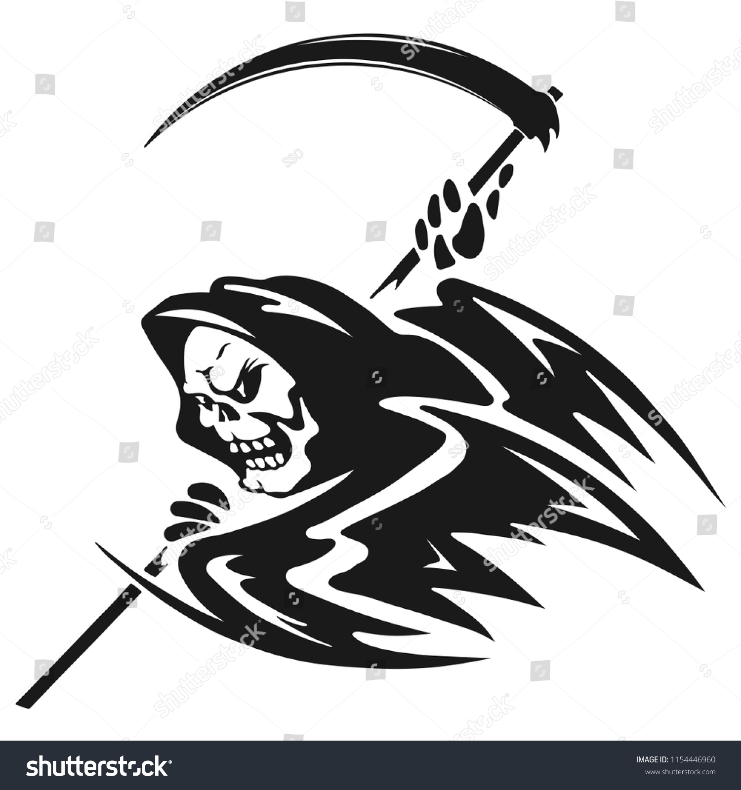Black white illustration death scythe death stock vector