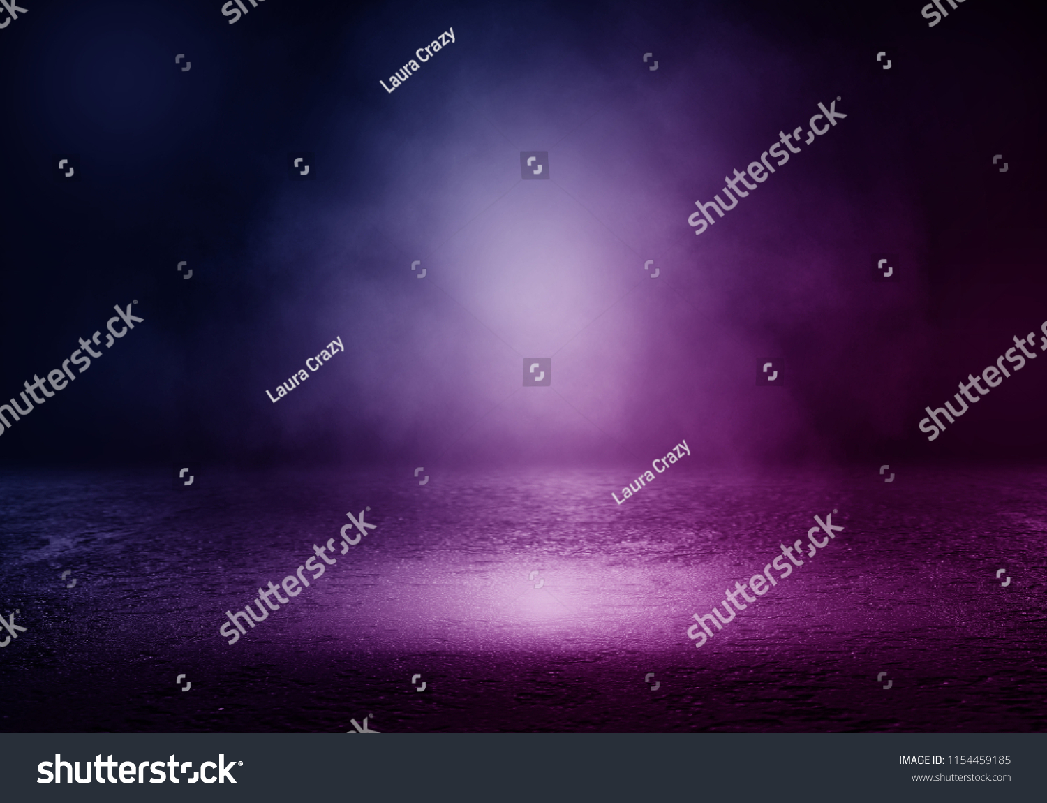 Background of empty room with spotlights and lights, abstract purple background with neon glow #1154459185