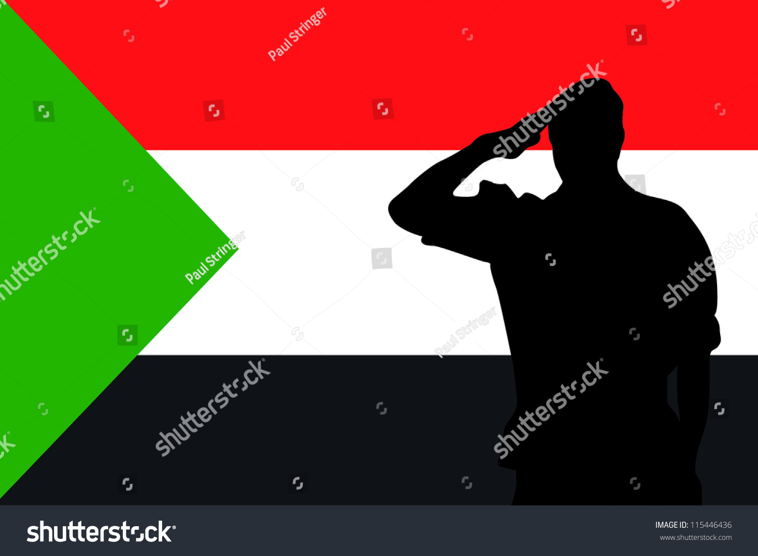 the flag of sudan and the silhouette of a soldier saluting