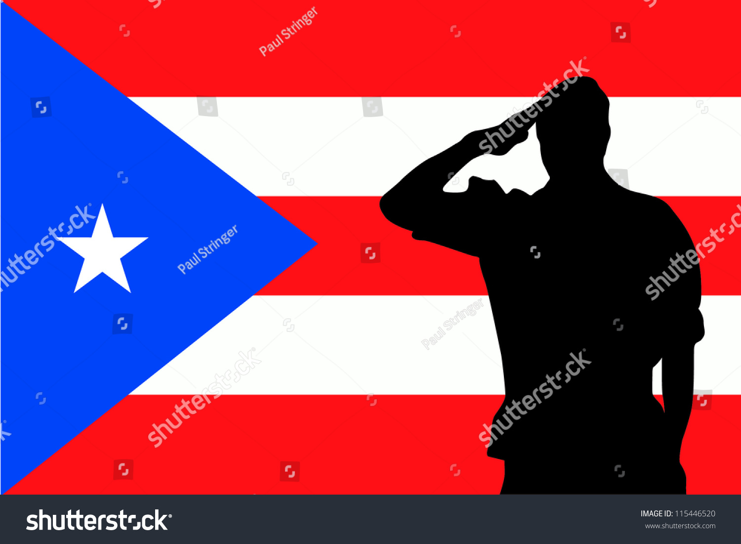 the flag of puerto rico and the silhouette of a soldier saluting