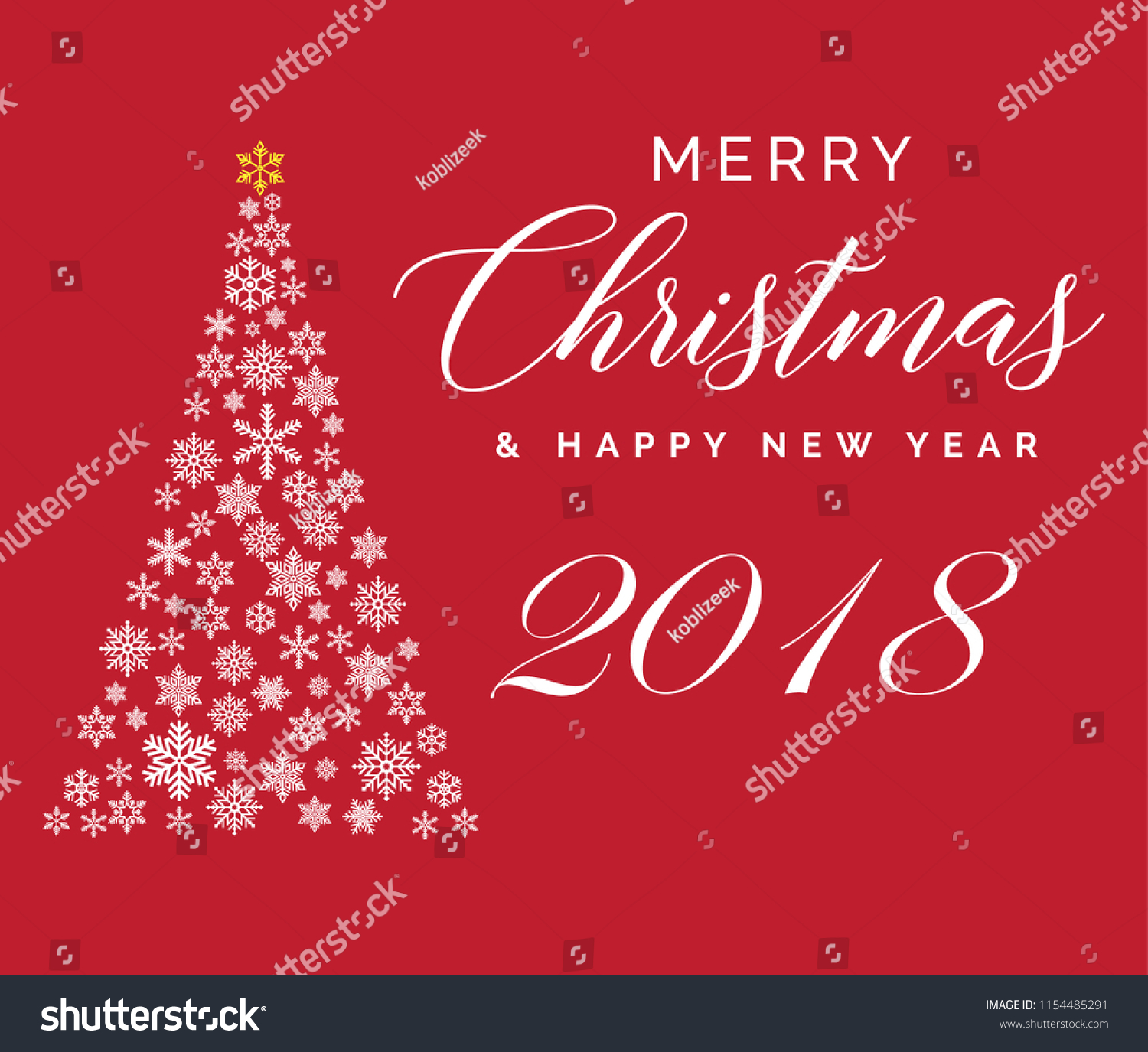 merry christmas and happy new year 2018 lettering template greeting card or invitation winter