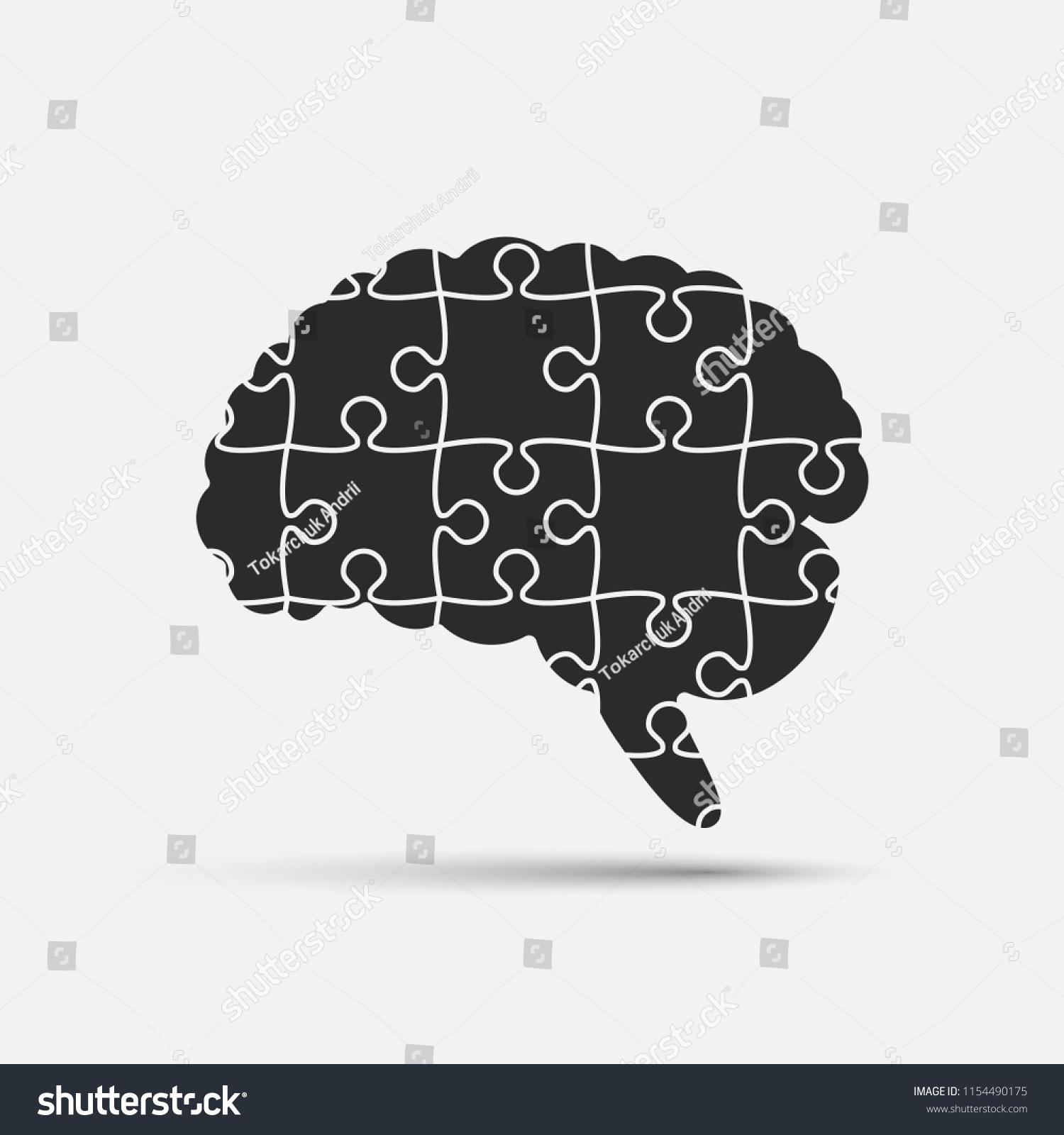 Puzzle Piece Silhouette Brain Vector Illustration Stock Vector ...