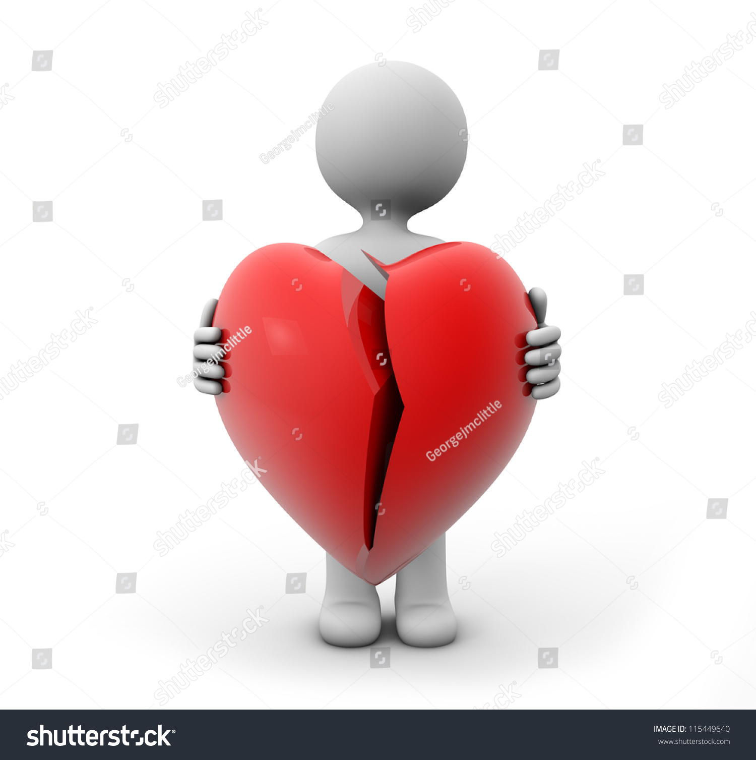 3d Render Of A Man With A Broken Heart Stock Photo