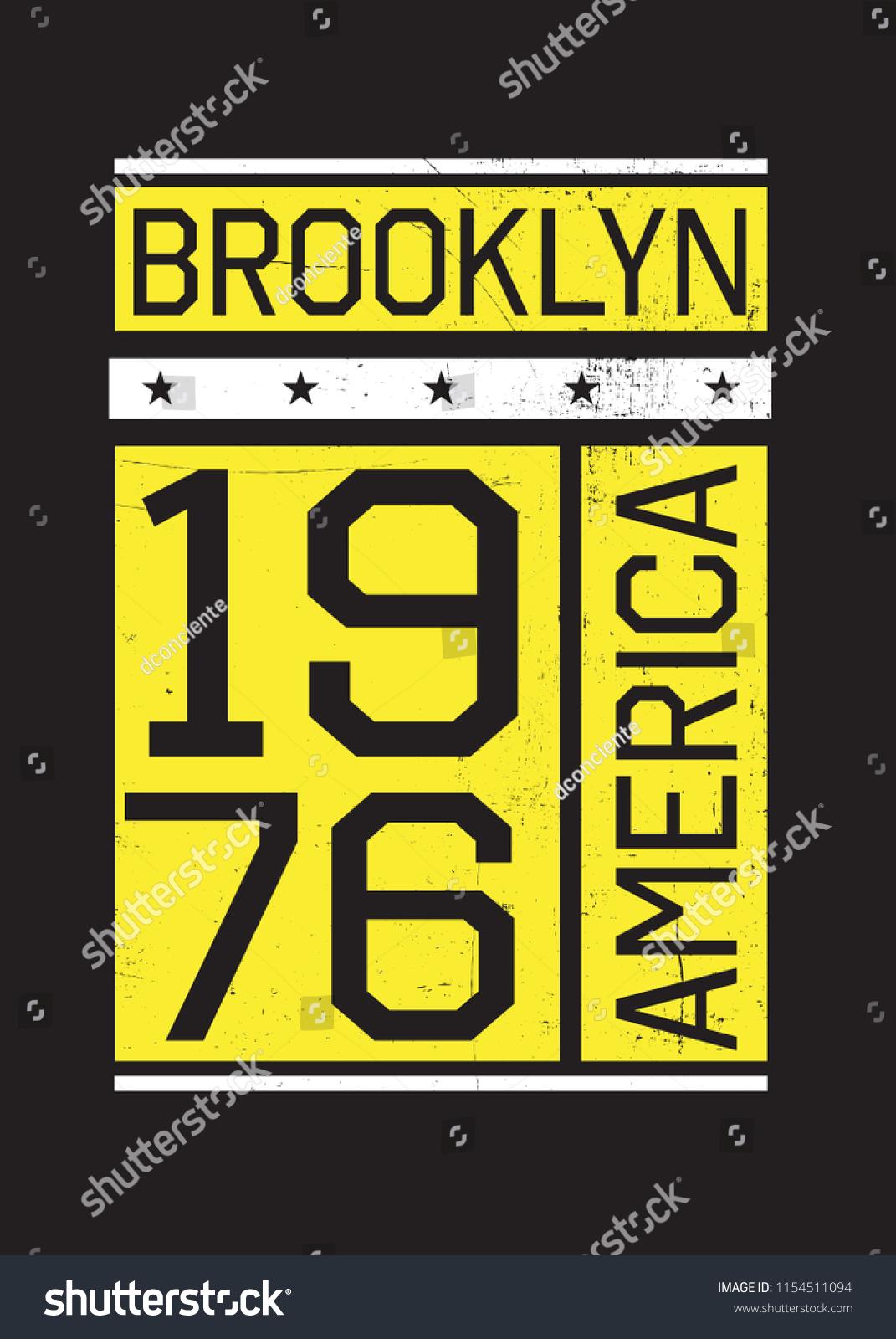 f6d6daa0 brooklyn new york america varsity urban design fashion apparel distressed -  Vector