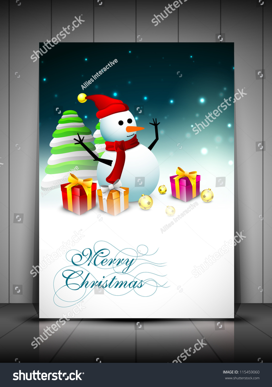 Happy snowman wearing santa hat scarf stock vector 115459060 happy snowman wearing santa hat and scarf and xmas trees for merry christmas greeting card kristyandbryce Image collections