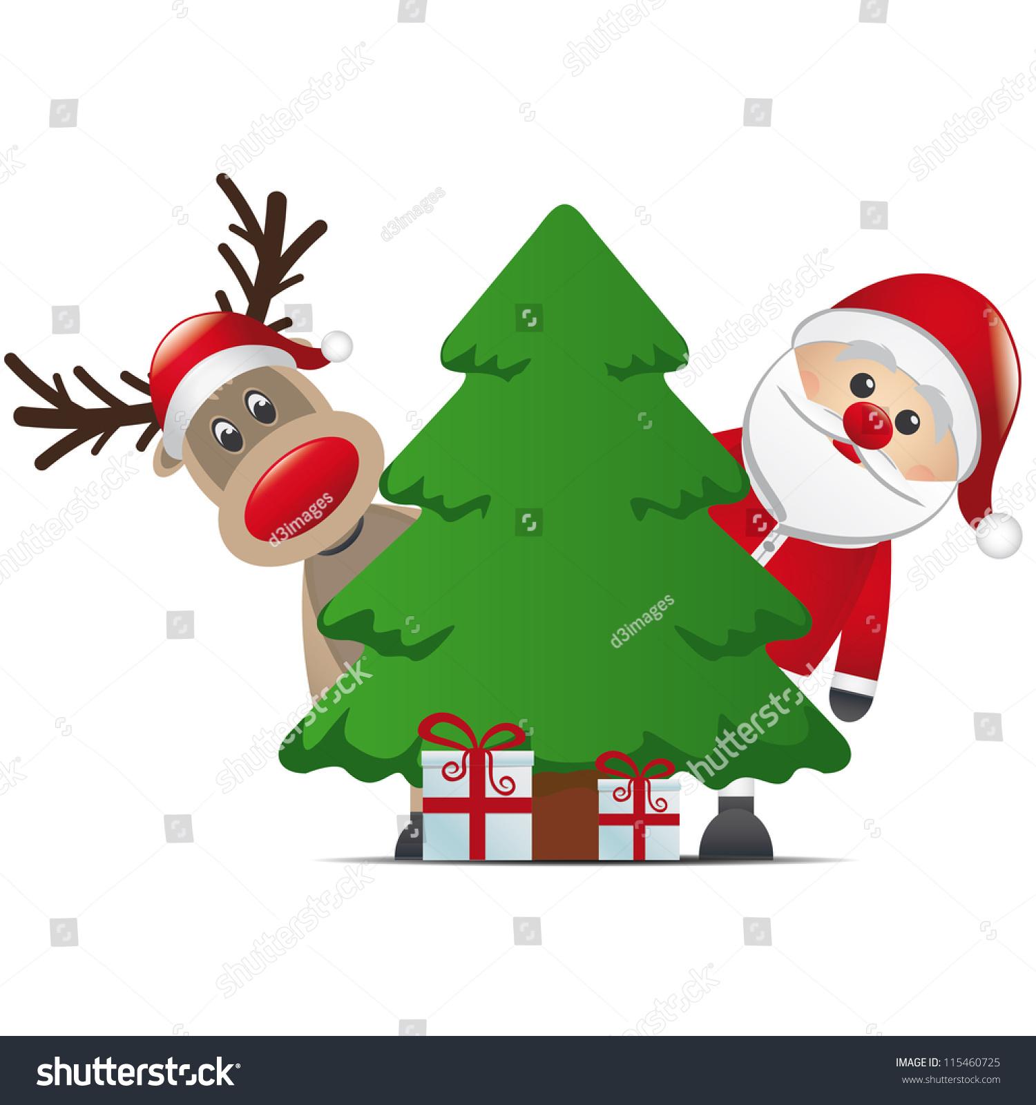 Reindeer Santa Claus Christmas Tree Gift Stock Vector ...