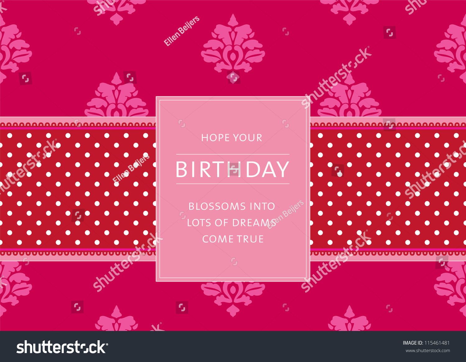 Editable template for a birthday card with floral background a polkadot ribbon and a retro for Editable birthday cards