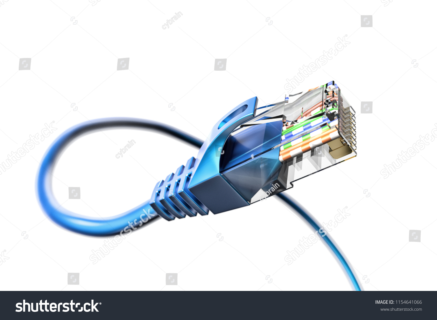 Network Connection Internet Communication Computer Technology Stock Ethernet Cable Plug Wiring Diagram And Concept Closeup View Of Curved