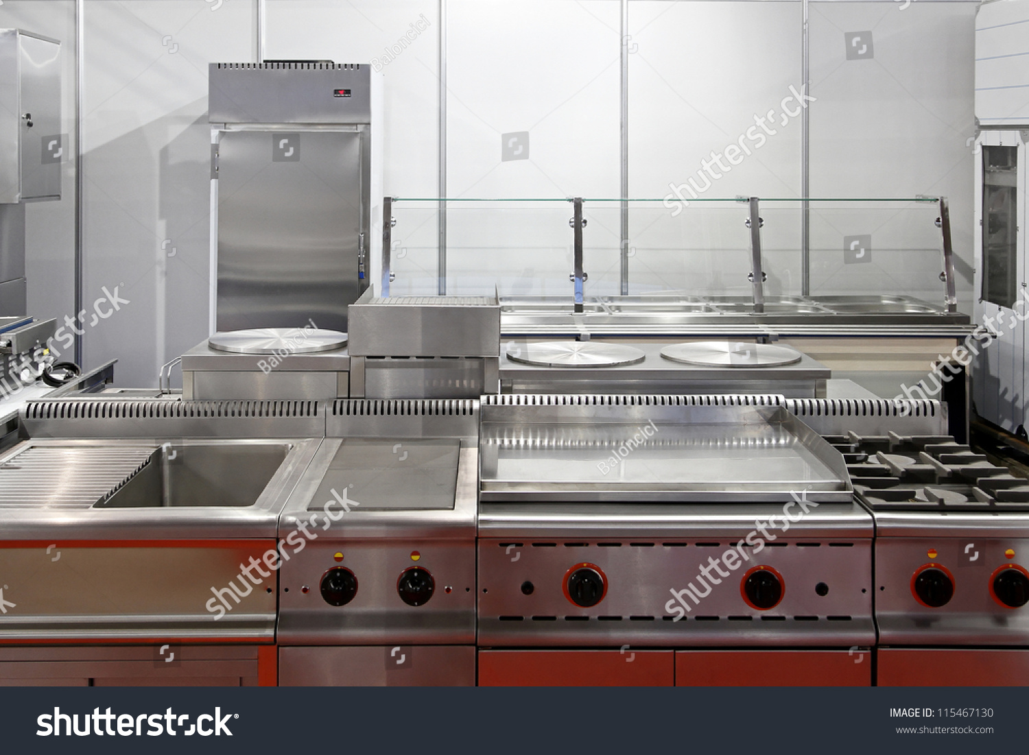 Restaurant Kitchen Gas Stove interior restaurant kitchen stainless steel equipment stock photo