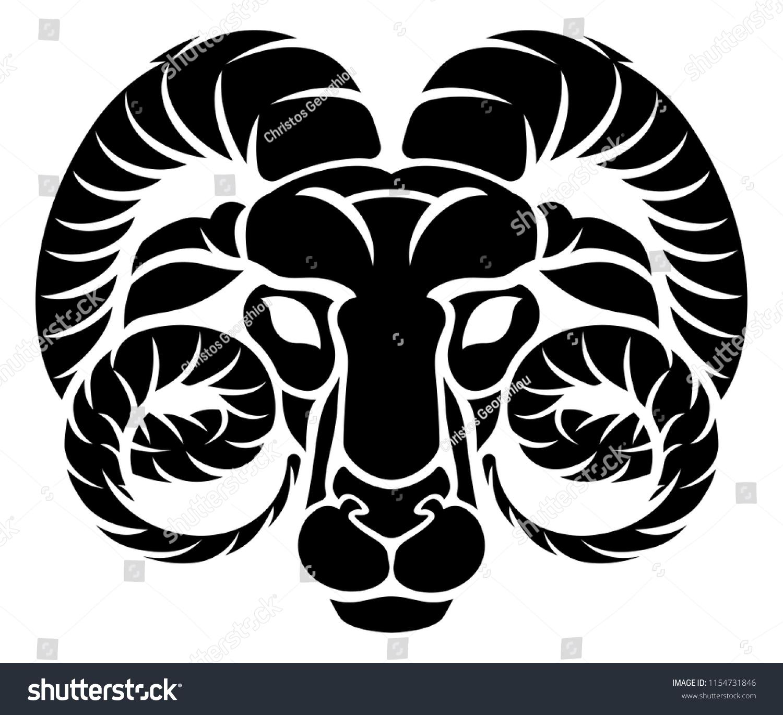 Zodiac Signs Circular Aries Ram Horoscope Stock Illustration
