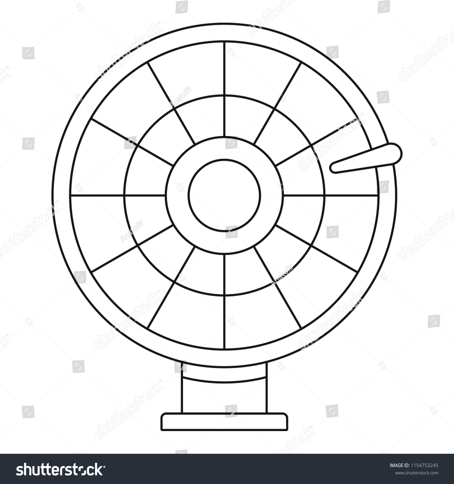 Color Lucky Wheel Icon Outline Color Stock Illustration 1154753245