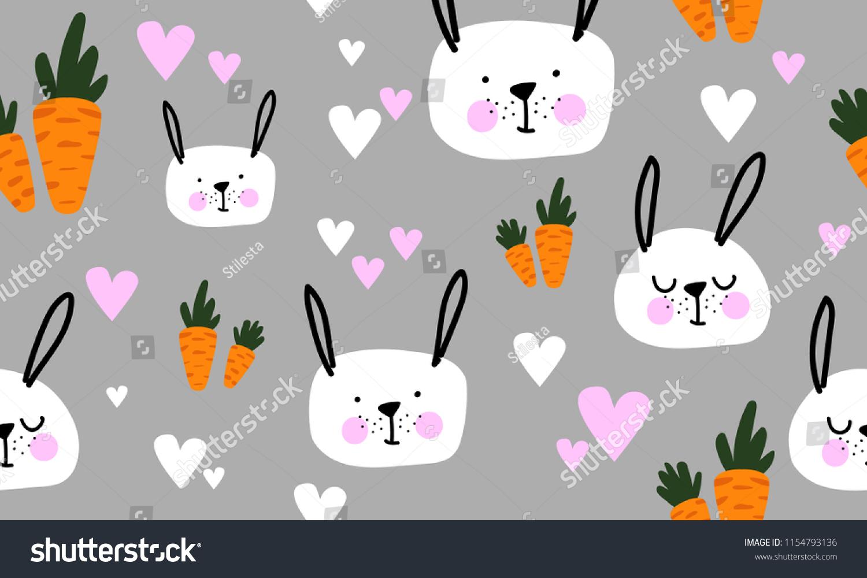 Seamless Pattern Carrots Cartoon Rabbits Fabric Stock Vector ...