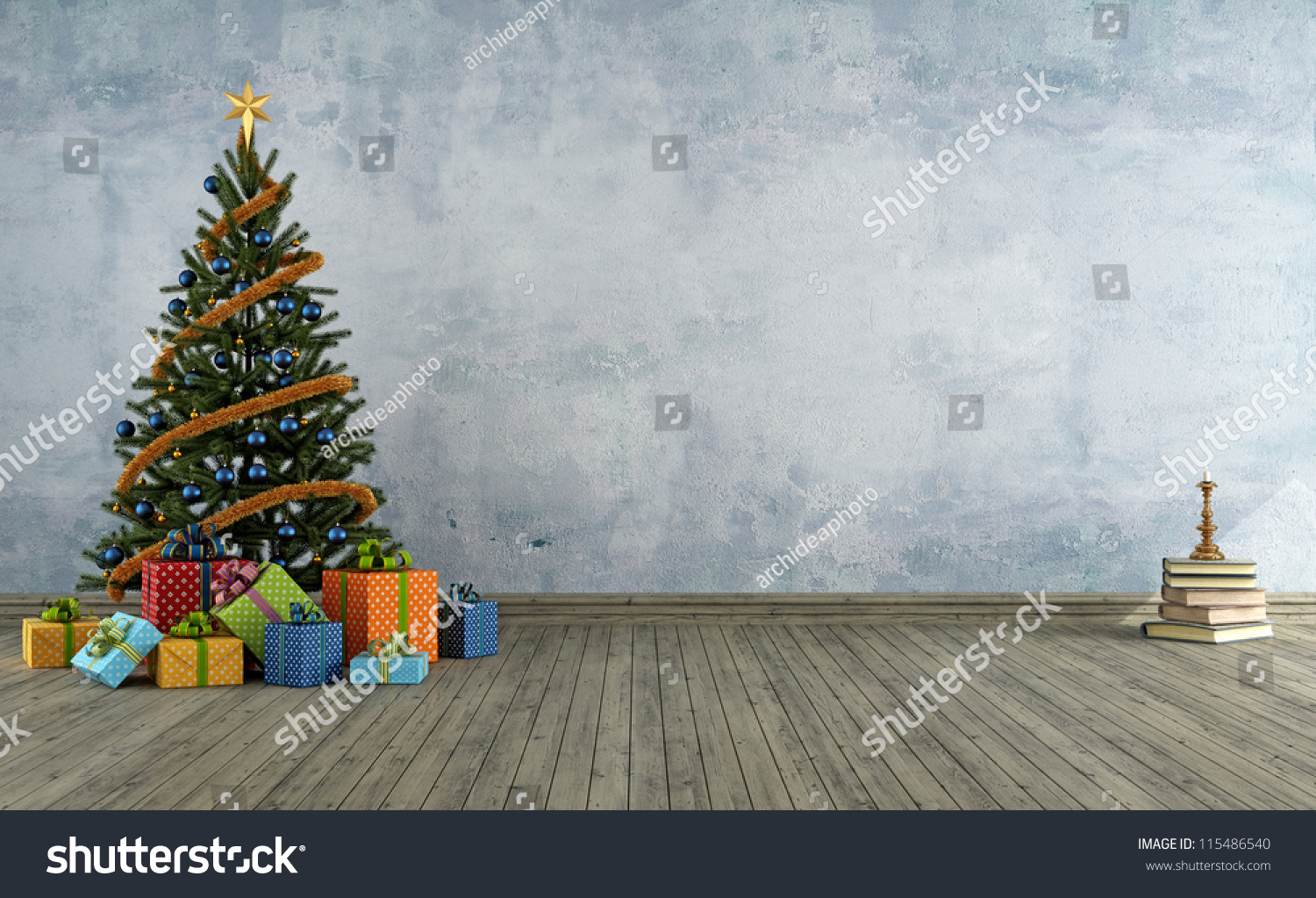 Empty vintage room christmas tree colorful stock