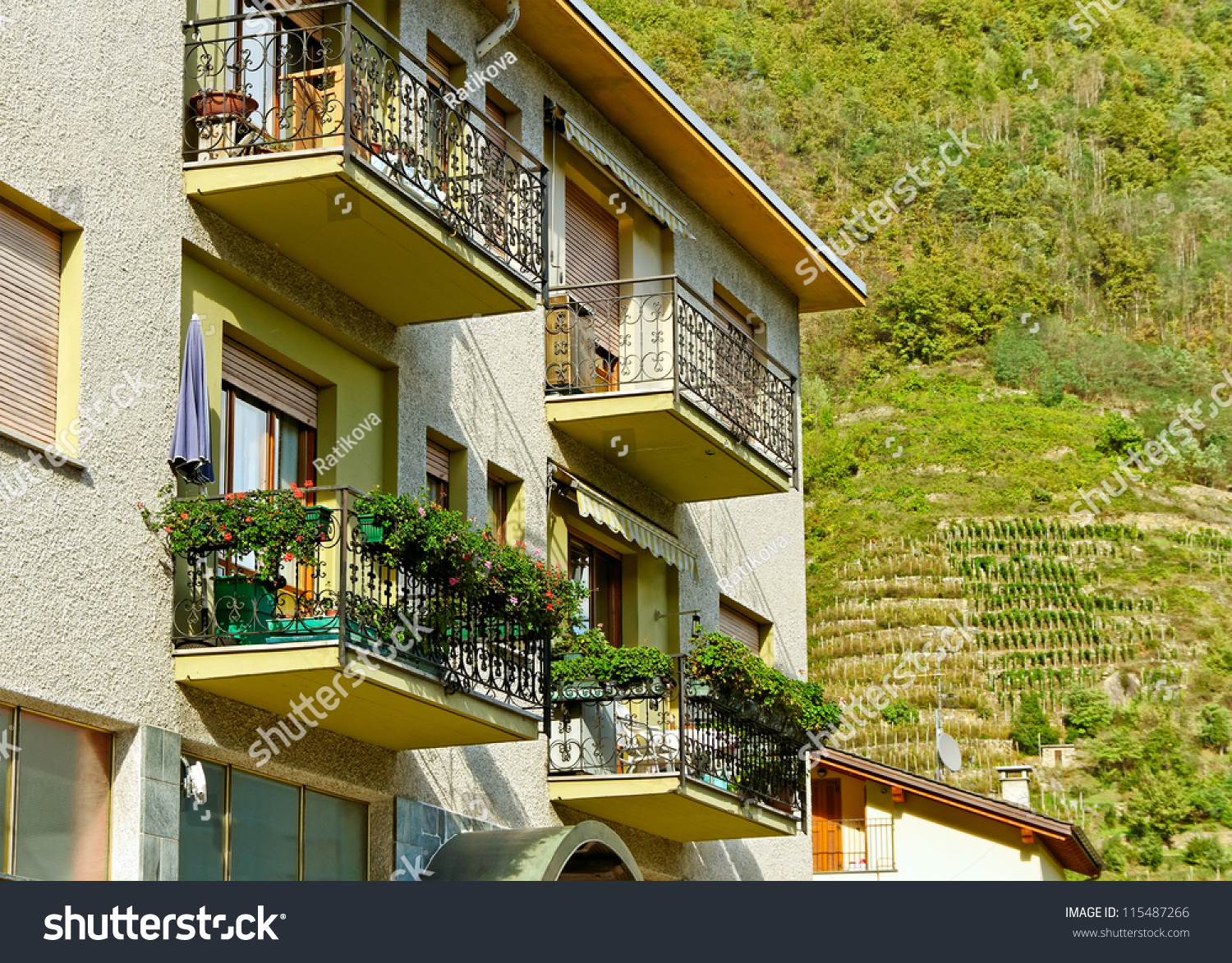 Beautiful house with balconies at the mountain