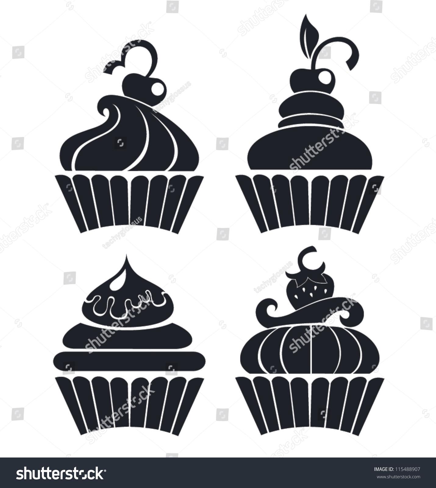 Silhouettes Cartoon Cupcakes Stock Vector 115488907