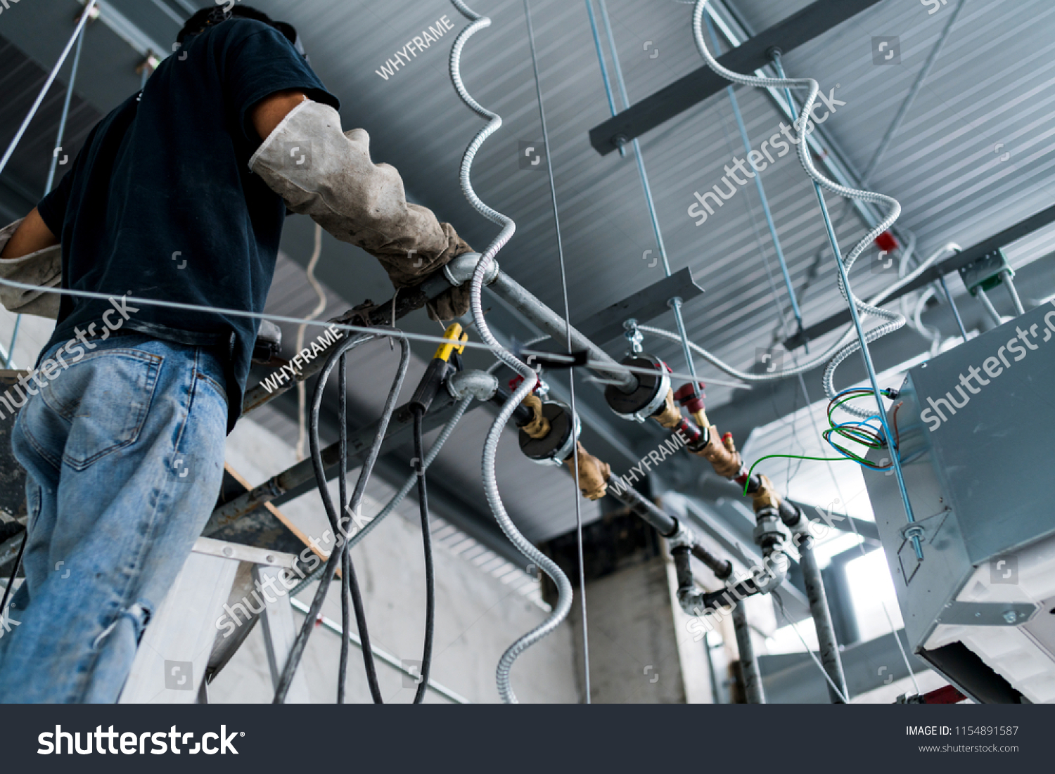 Aricondition Cassette Type Installation Wiring Pipe Stock Photo Types Of Home With And Setting Improvement Ideas Concept