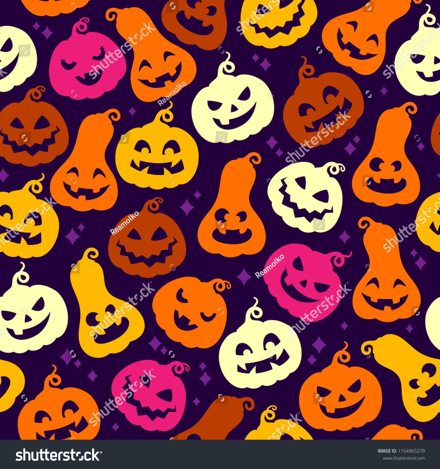 Cute Pumpkins Seamless Colorful Pattern Halloween Stock Illustration