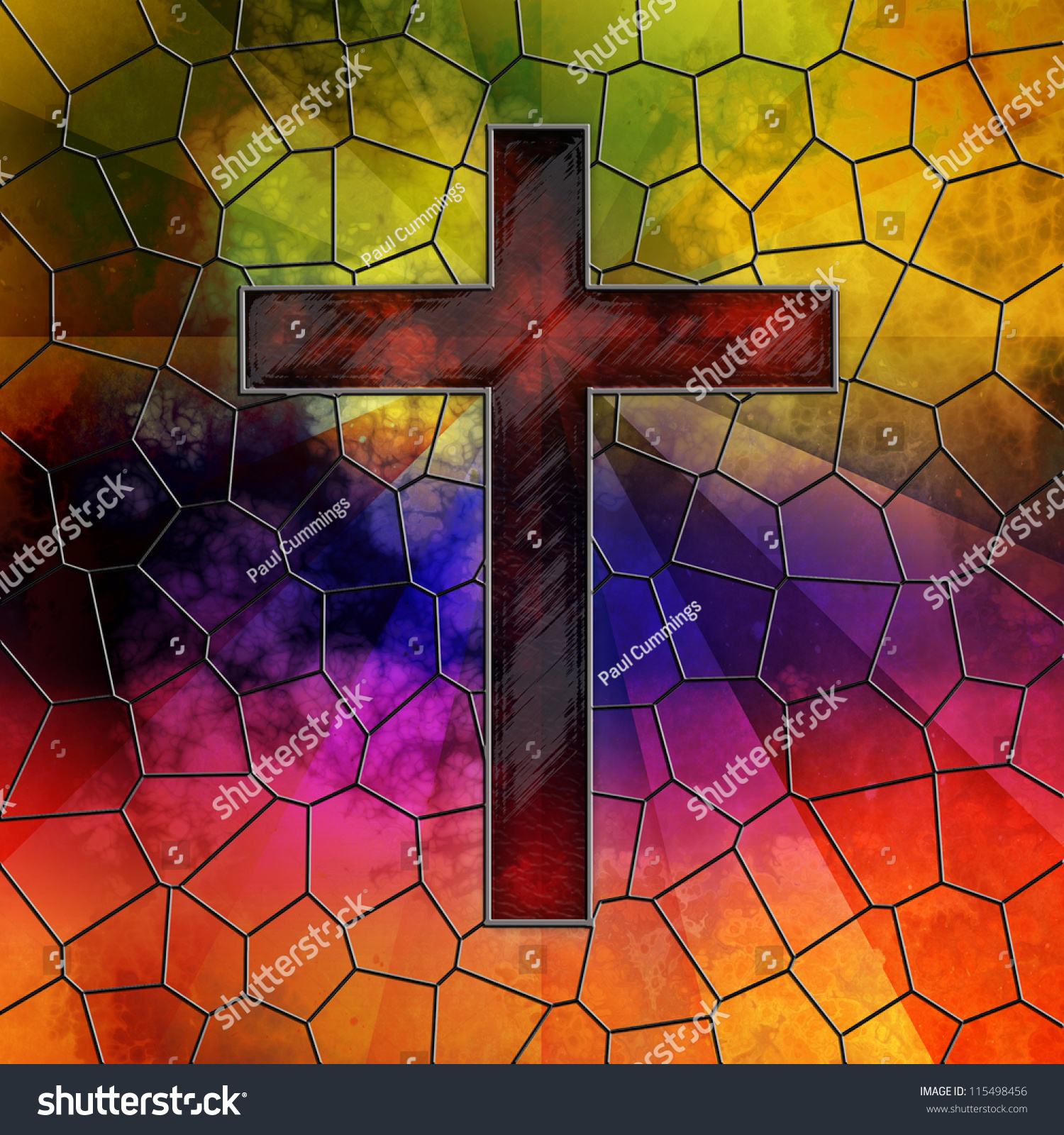 Red Stained Glass : Red glass cross on stained stock illustration