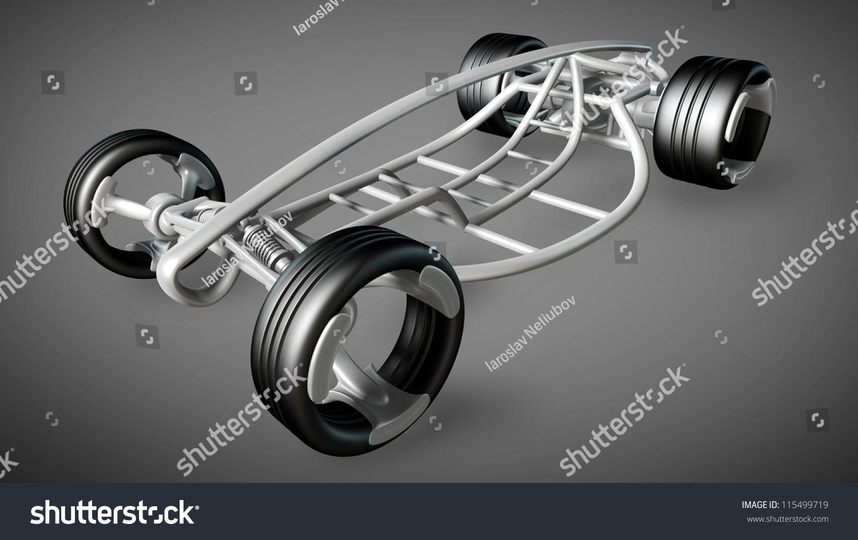 Design of car frame - Concept Car Frame High Resolution 3d Render