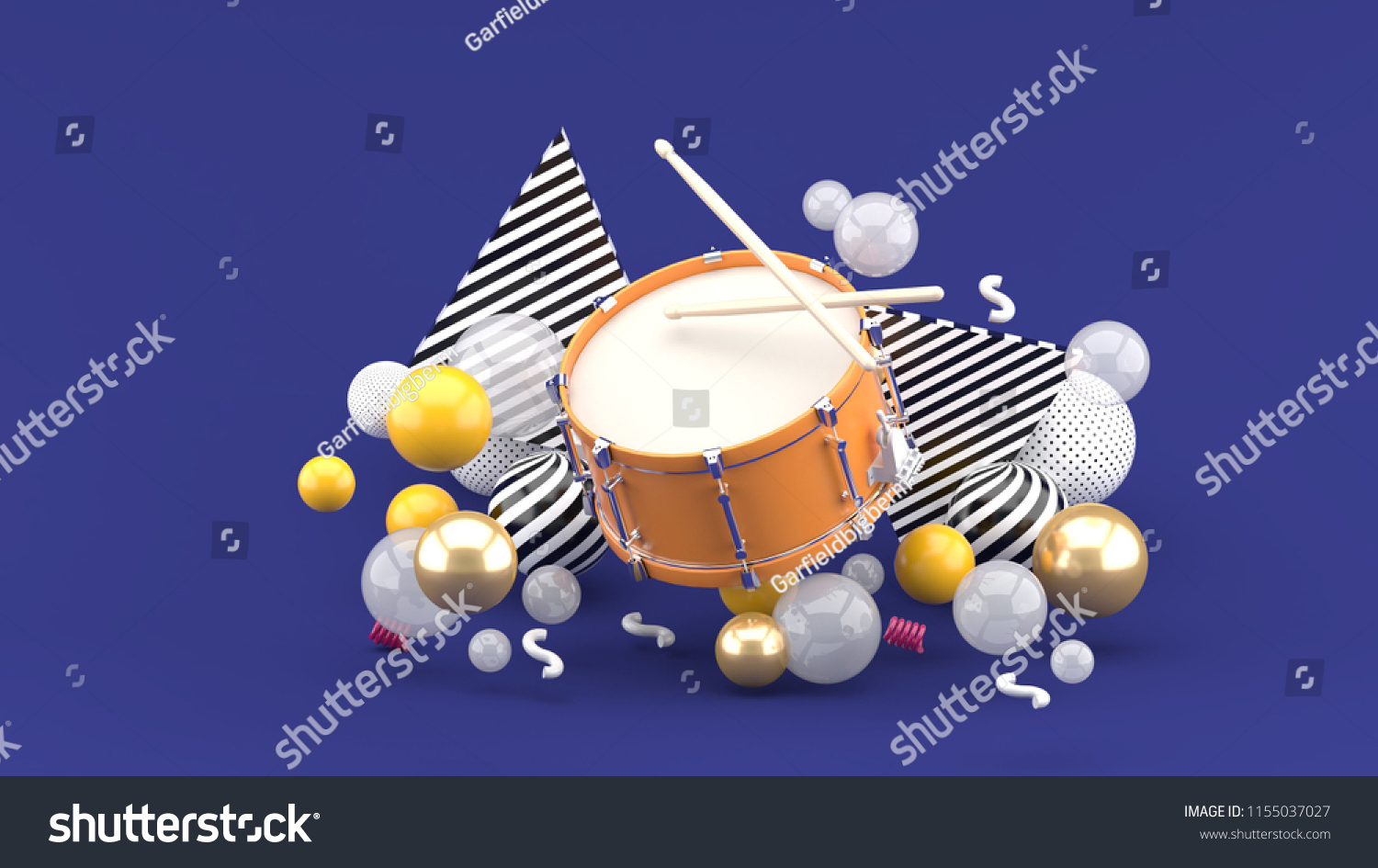 070ee8ea6 Orange snare among the colorful balls on the purple background.-3d  rendering.