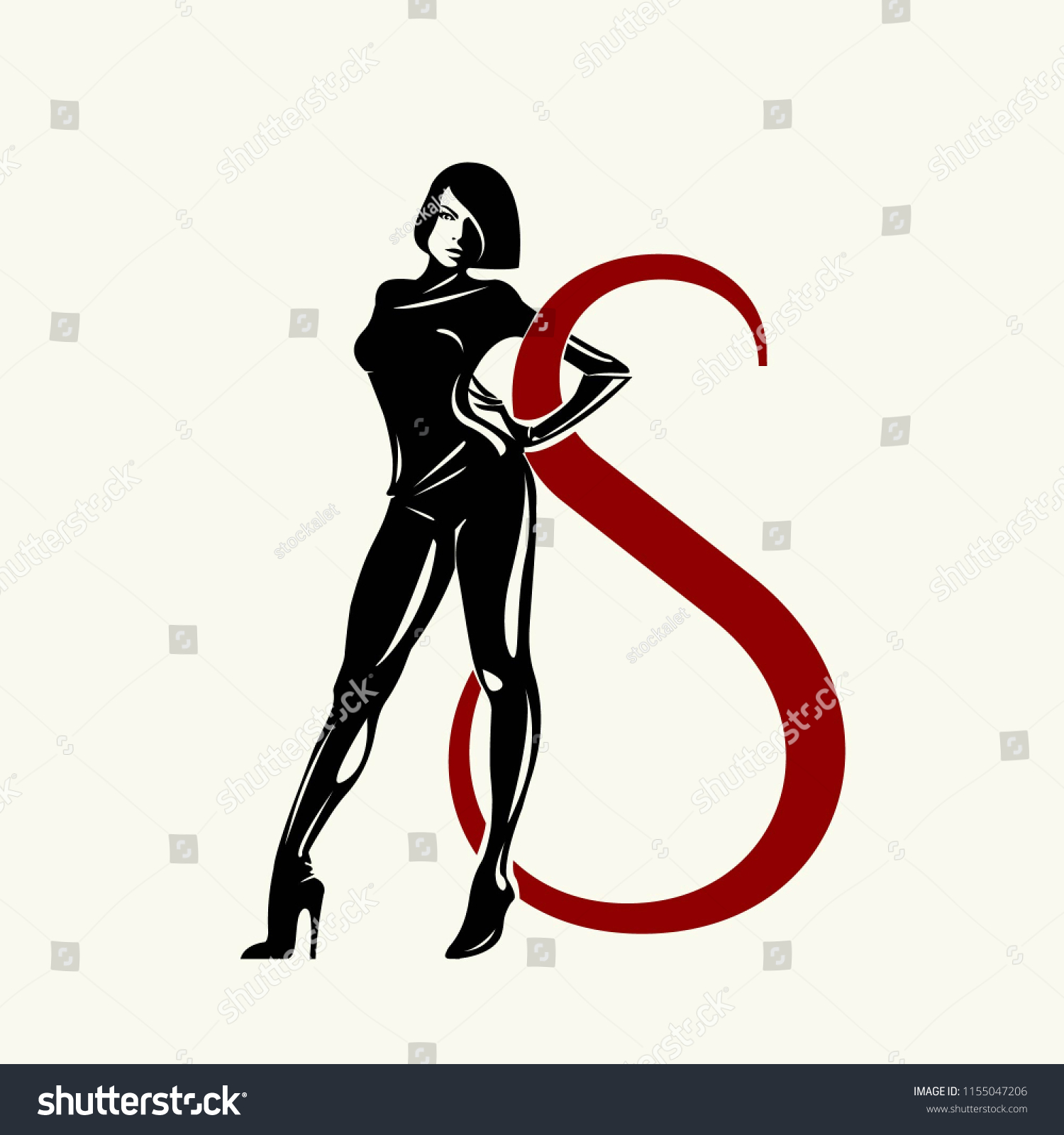 Beautiful Sexy Woman Black Latex Suit Stock Vector (Royalty Free