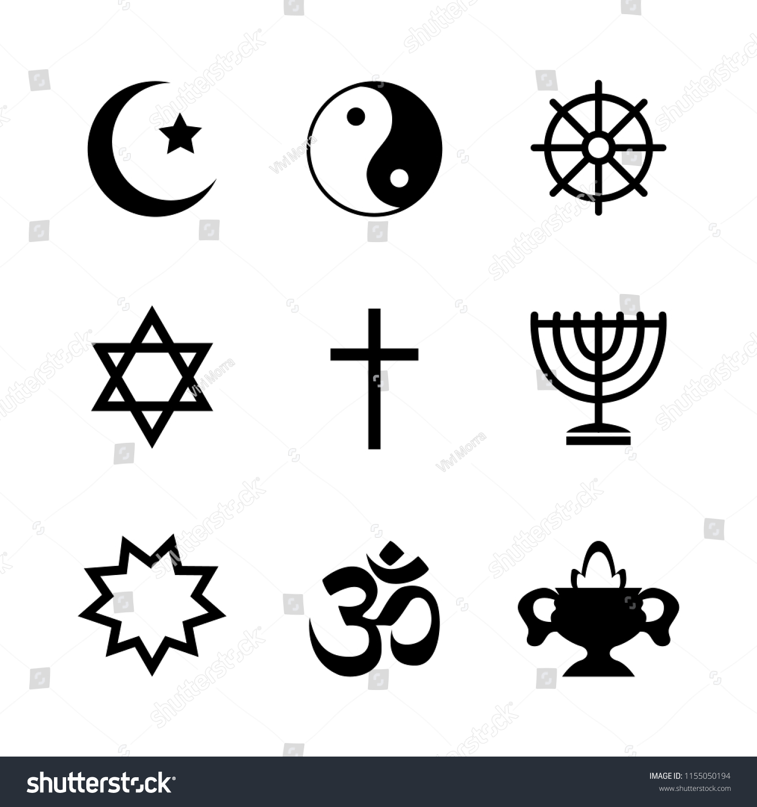 Icons Denoting Different Religious Symbols Vector Stock Vector