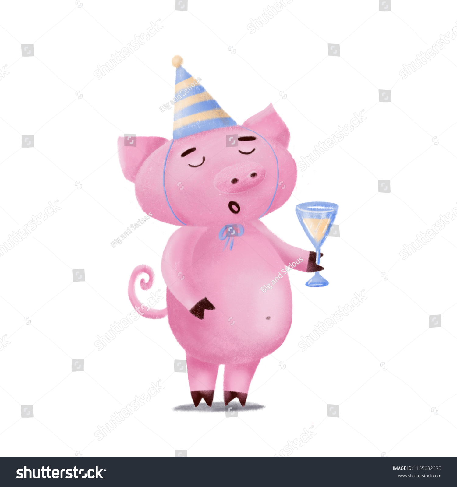 stock photo cute funny pig character in birthday hat holding glass of champagne singing or giving - Porky Pig Sings Blue Christmas