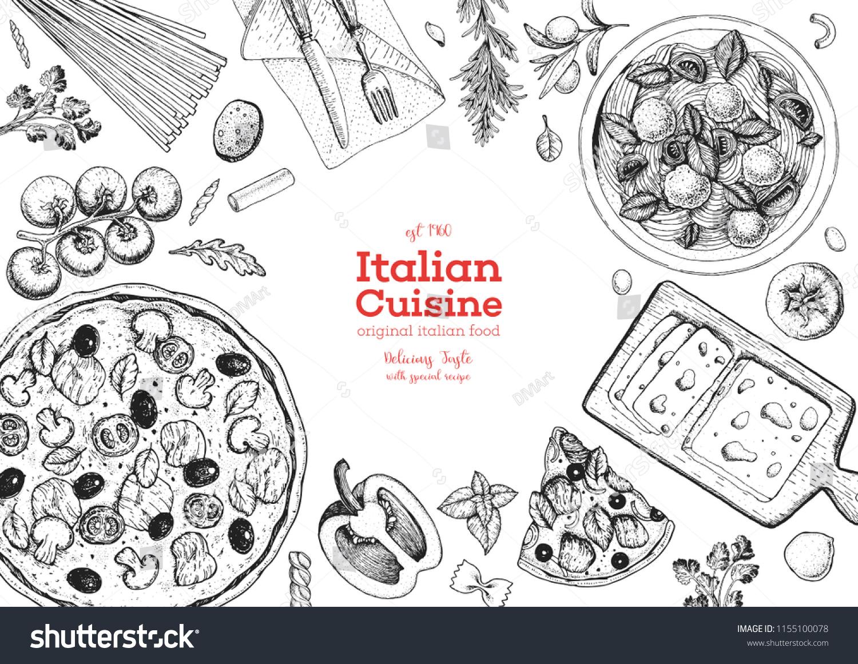 Italian Cuisine Top View Frame Set Stock Vector (Royalty Free