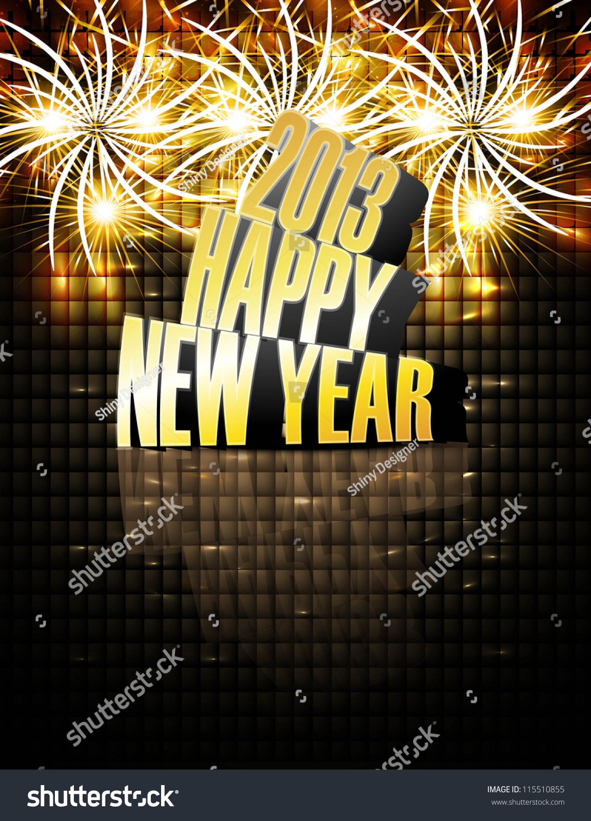 2013 Happy New Year Reflection Celebration Stock Vector (Royalty ...