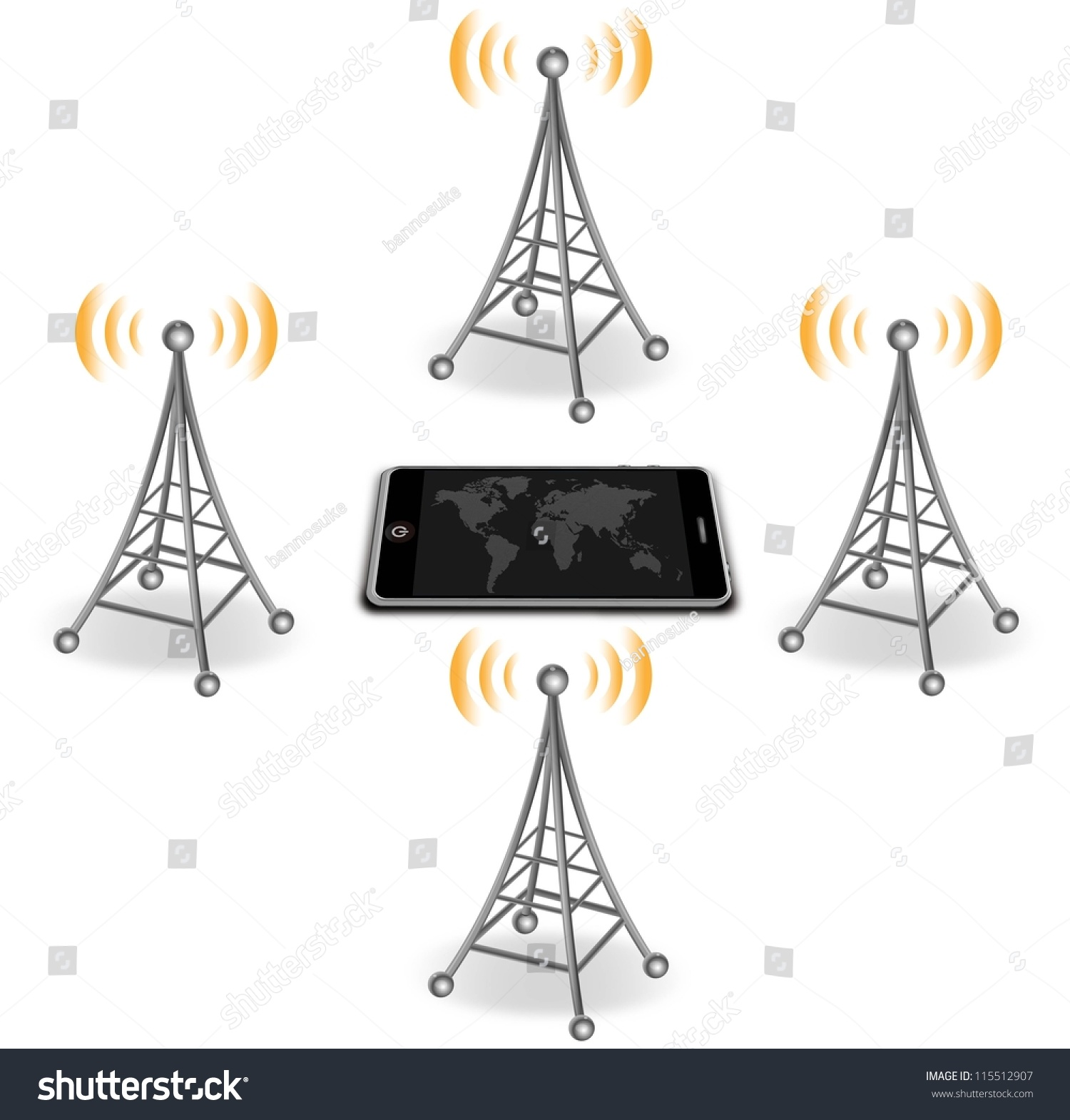 Vector Antennas Around Smart Phone Stock Royalty Free