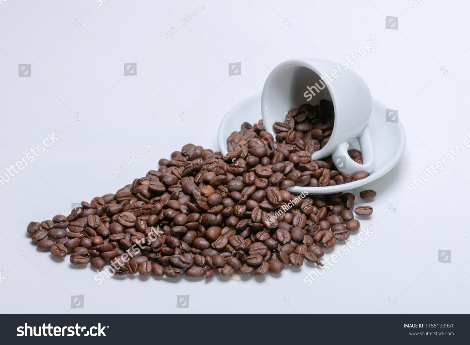 Espresso Cup Saucer Roasted Coffee Beans Stock Photo Edit Now 1155193951