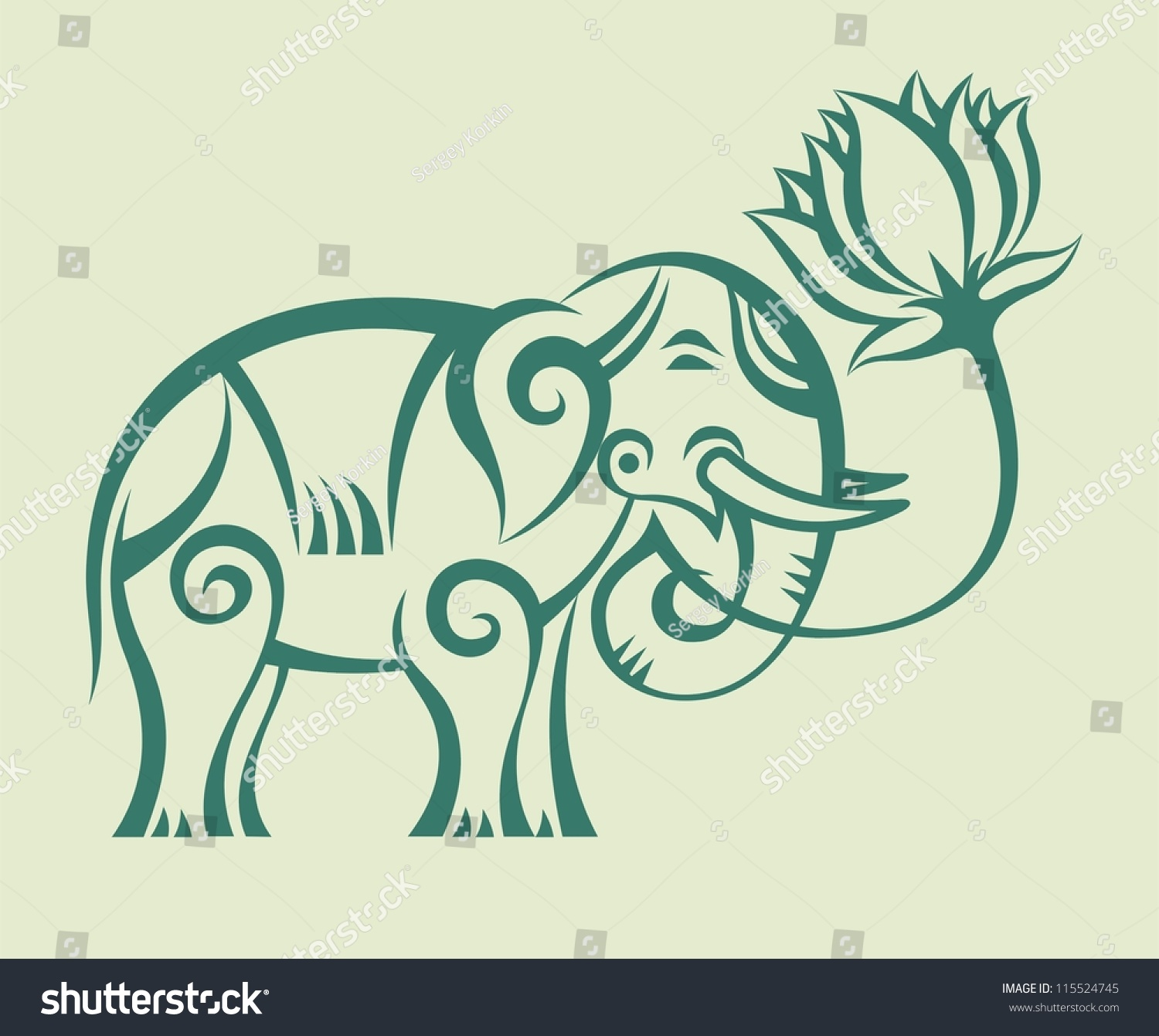 Elephant Lotus Flower Concept Illustration Stock Illustration