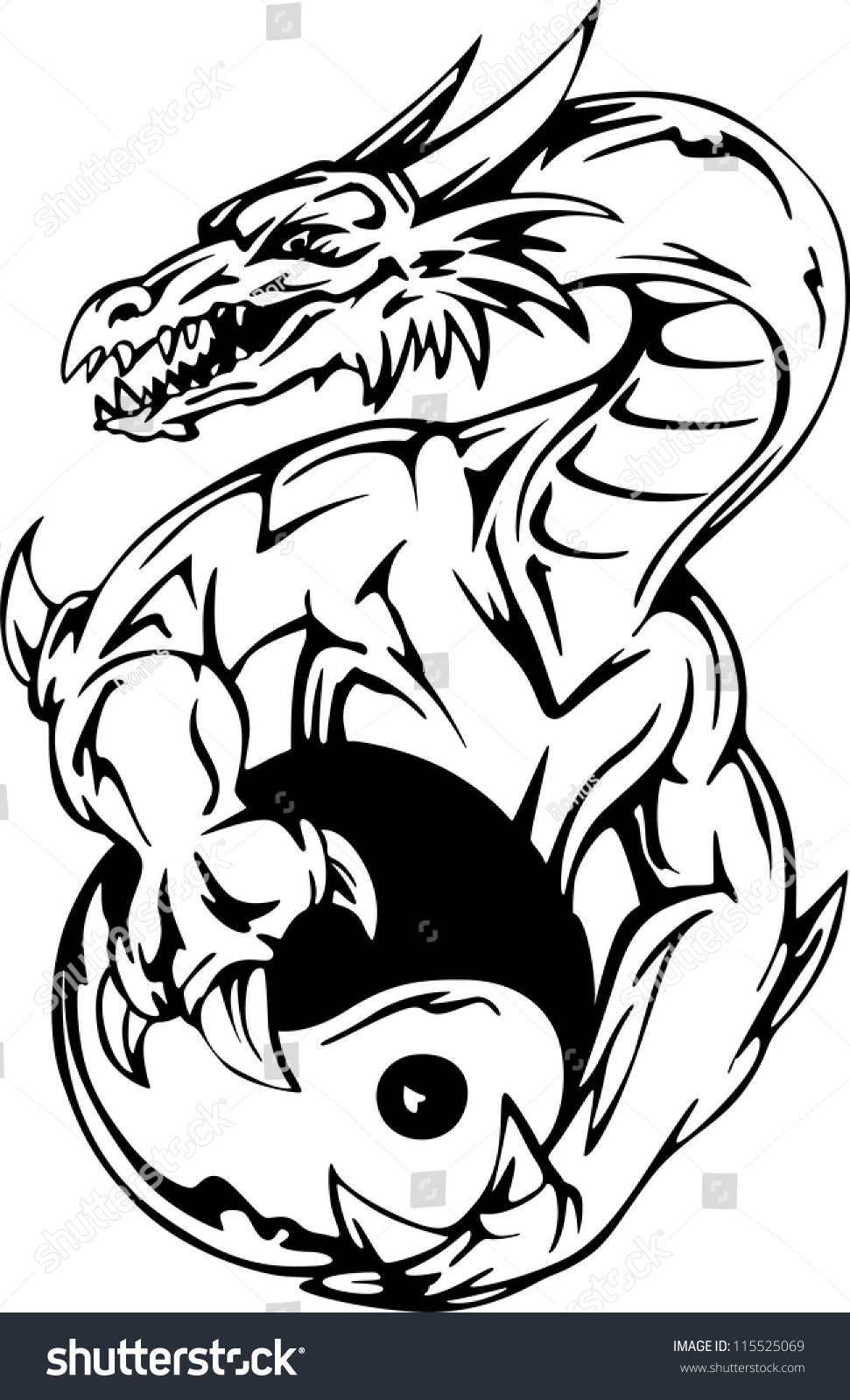 Save To A Lightbox Dragon Tattoo With Yinyang Sign Eps Vector Illustration  How To Draw A