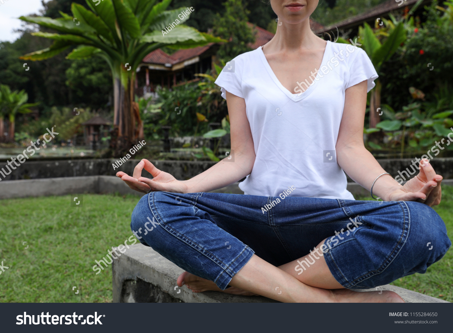 Young Woman Meditating Nature Near Beautiful Stock Photo Edit Now 1155284650