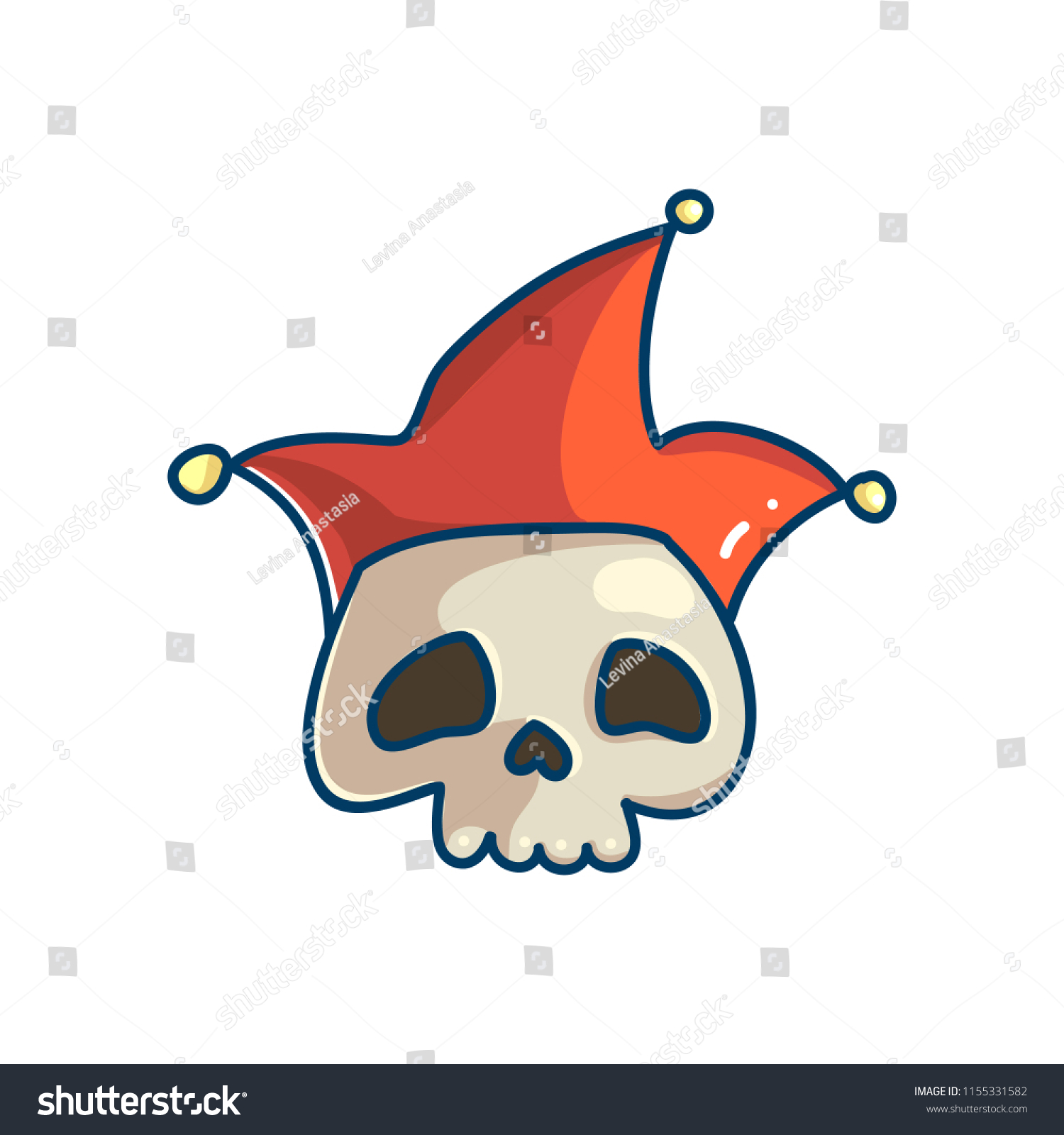 Skull Character Clown Hat Cute Cool Stock Vector Royalty Free
