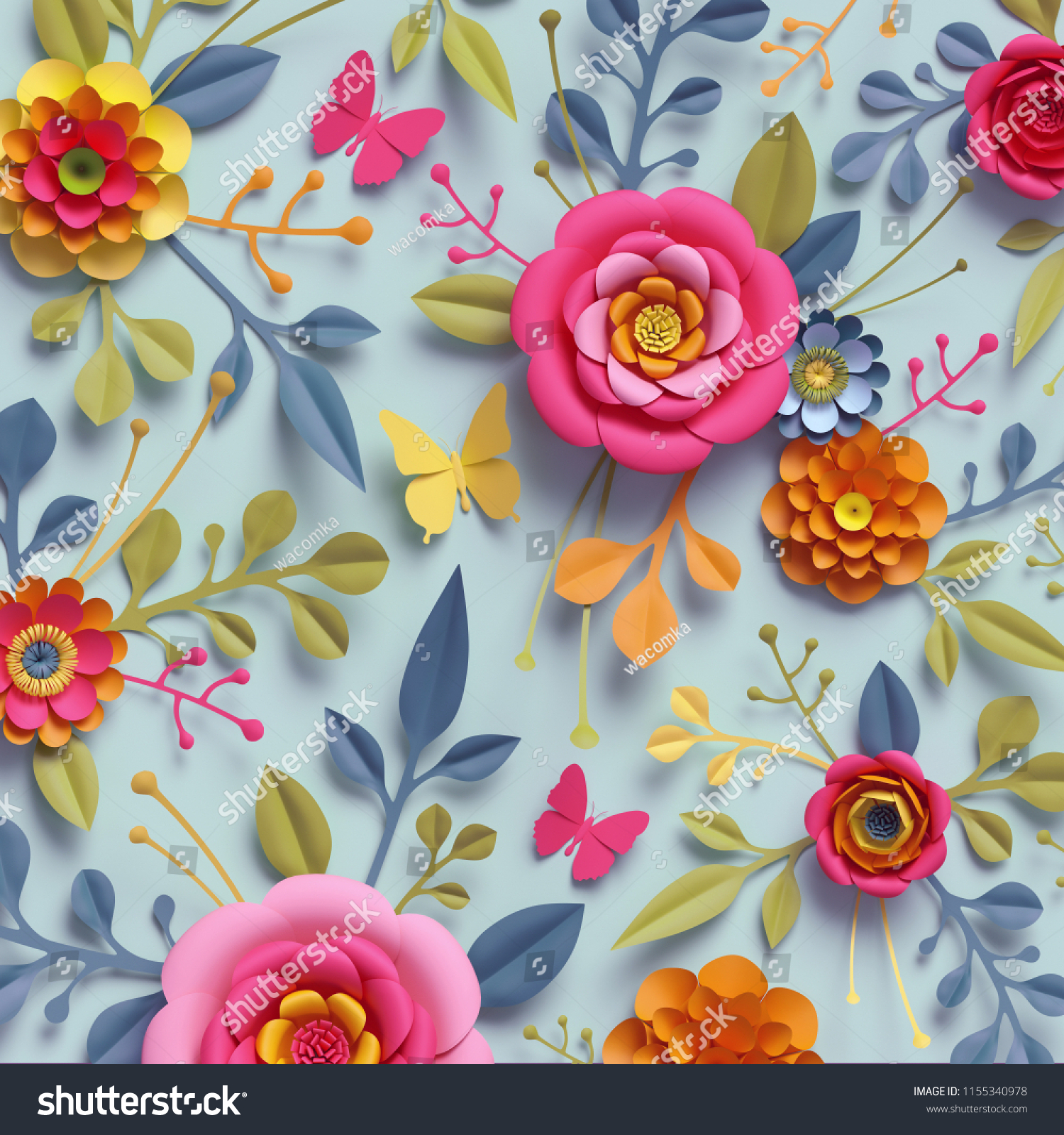 3 d render craft paper flowers fall stock illustration 1155340978 3d render craft paper flowers fall botanical wallpaper thanksgiving floral bouquet bright izmirmasajfo