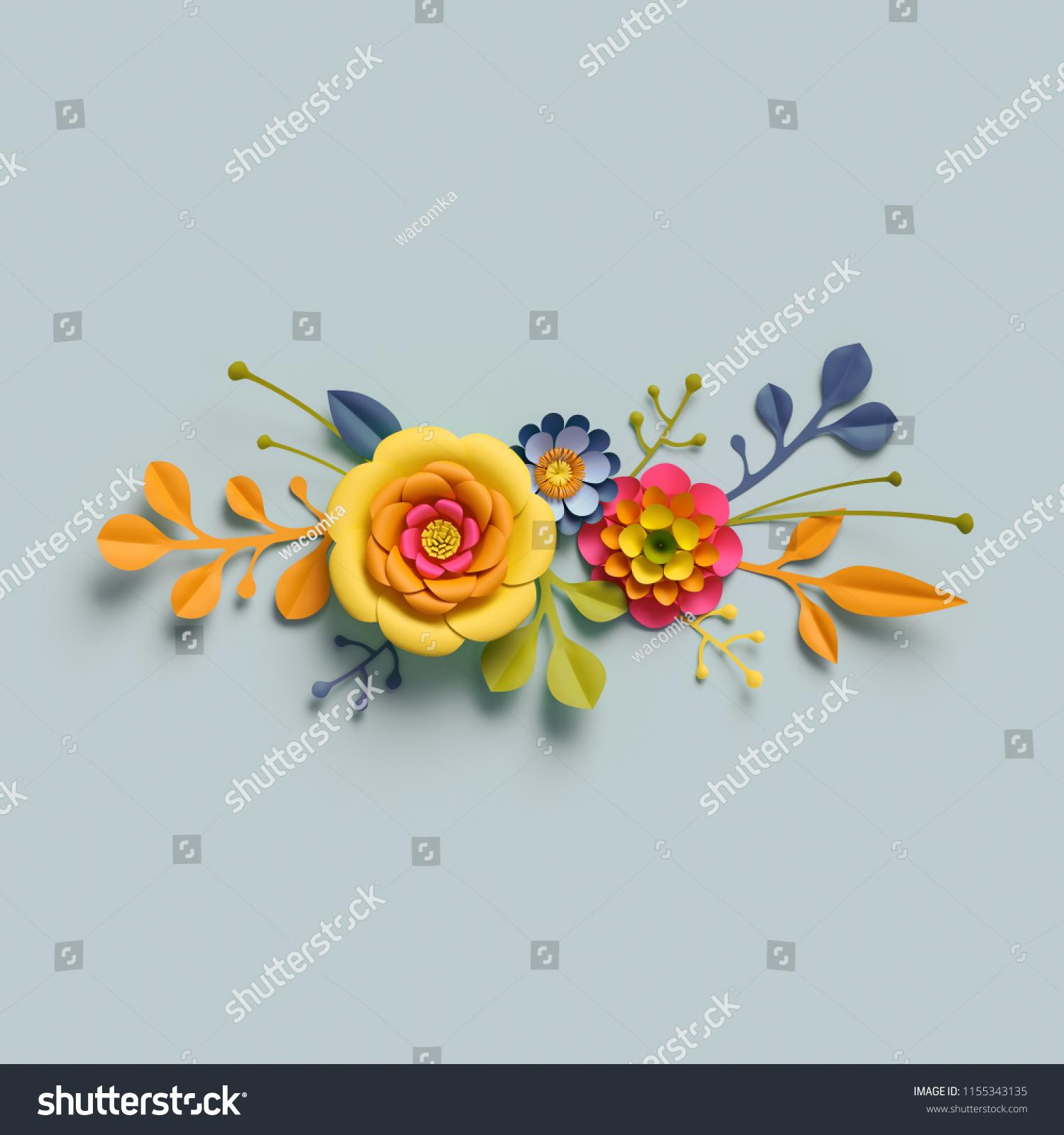 3 D Render Craft Paper Flowers Autumn Stock Illustration 1155343135