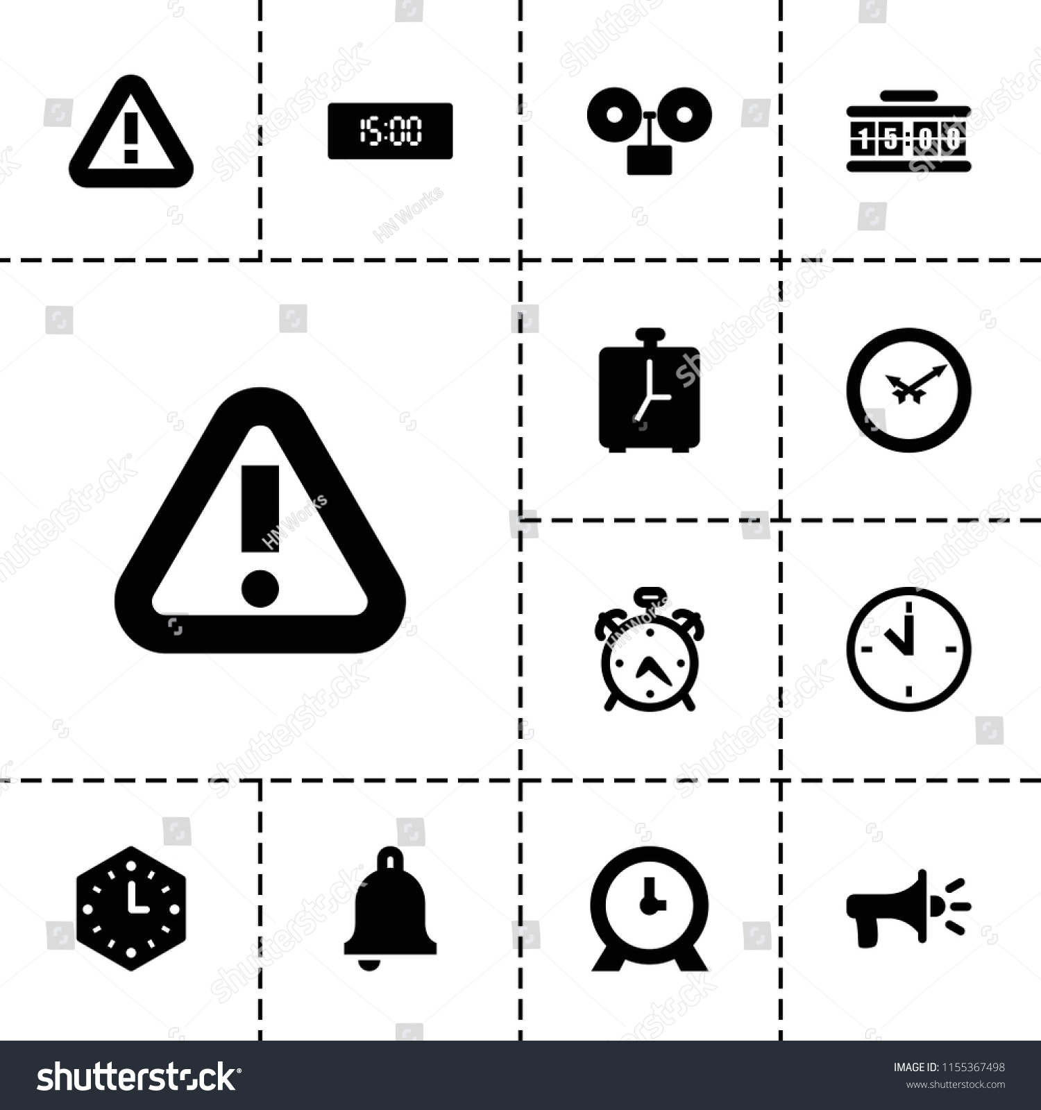 Alarm Icon Collection 13 Alarm Filled Stock Vector (Royalty