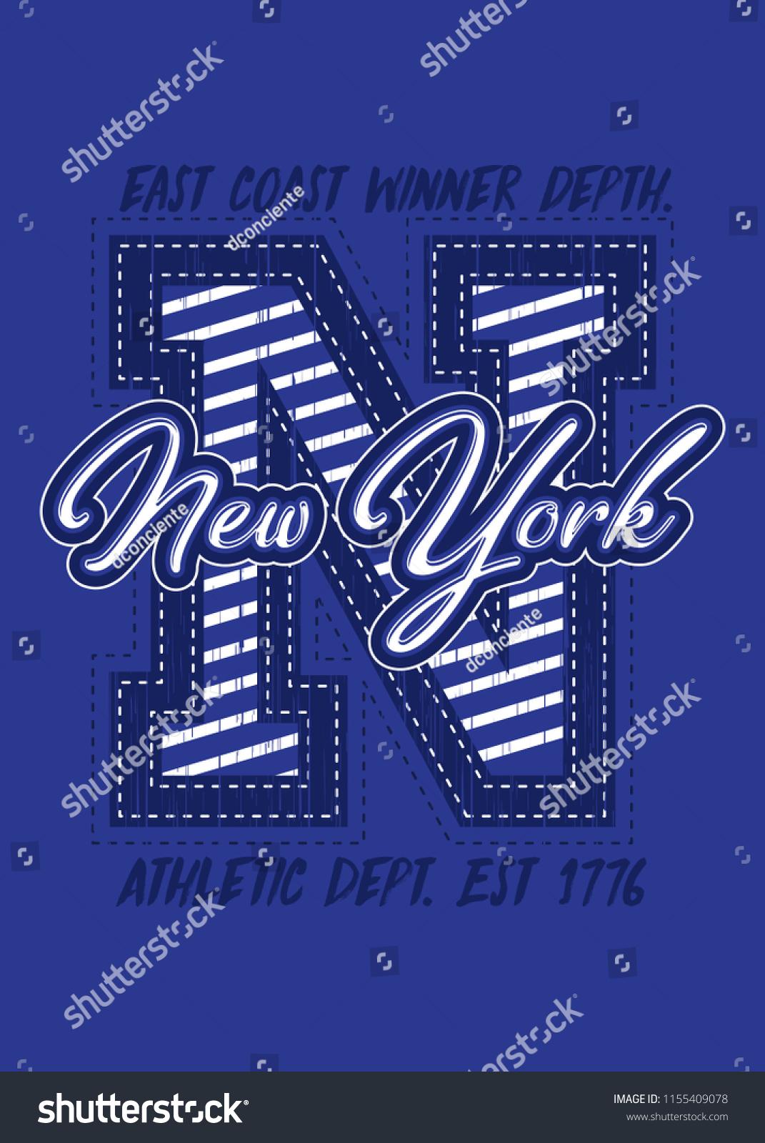 79083824 new york varsity sports distressed graphic shirt apparel urban poster -  Vector