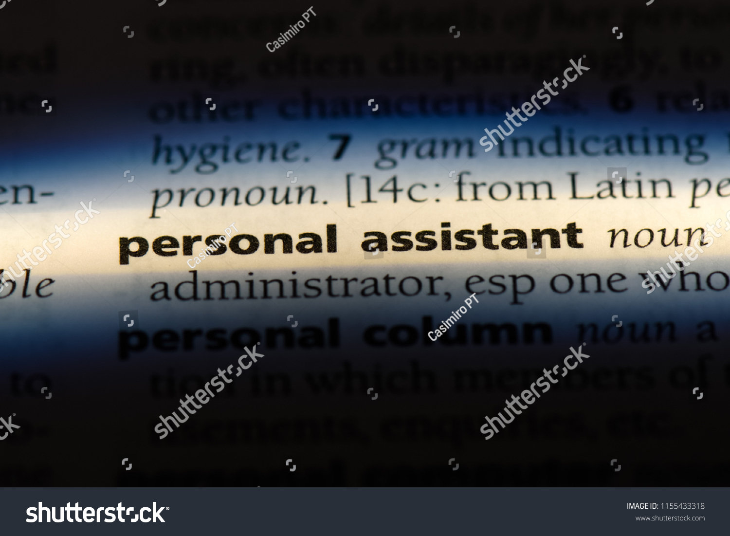 personal assistant word in a dictionary. personal assistant concept. #1155433318
