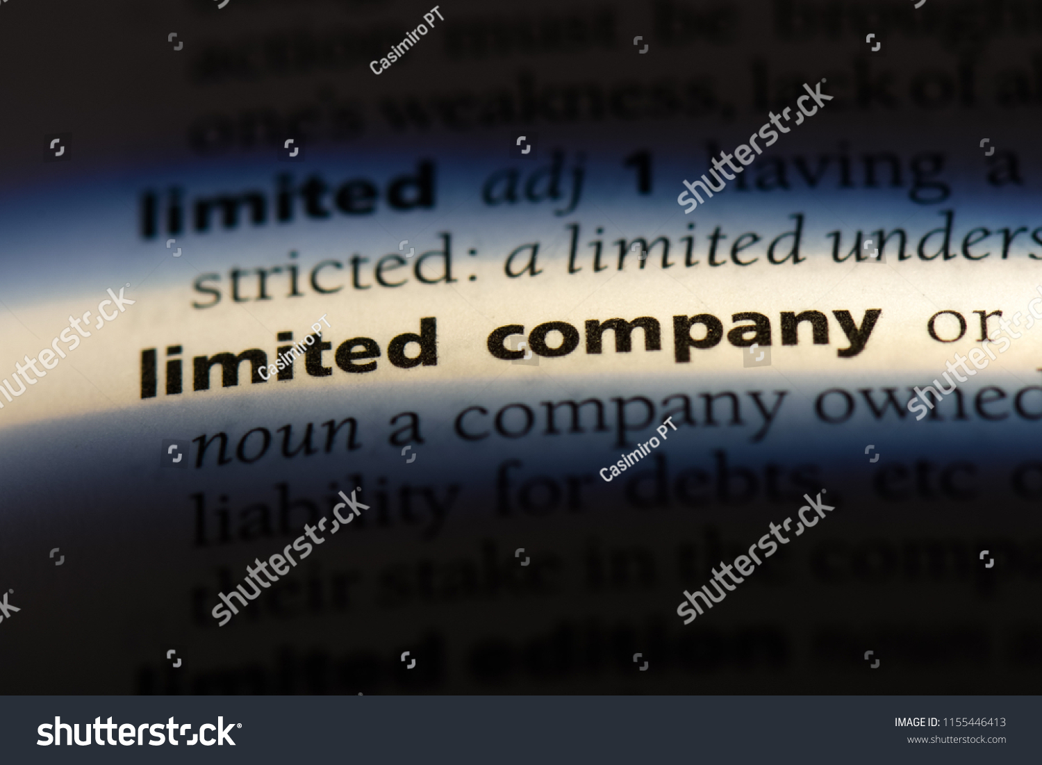 limited company word in a dictionary. limited company concept. #1155446413
