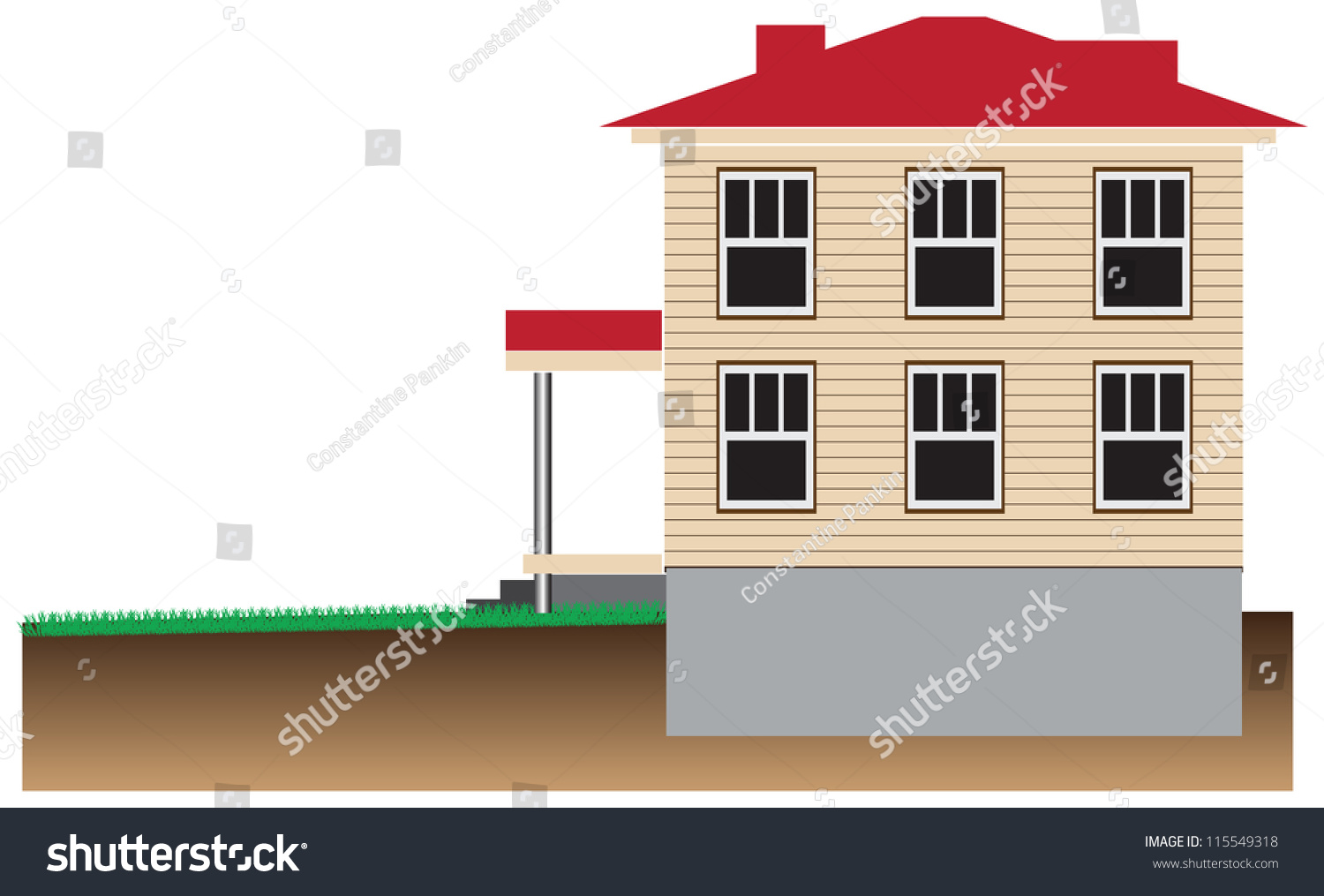 residential house with a basement schematic representation vector
