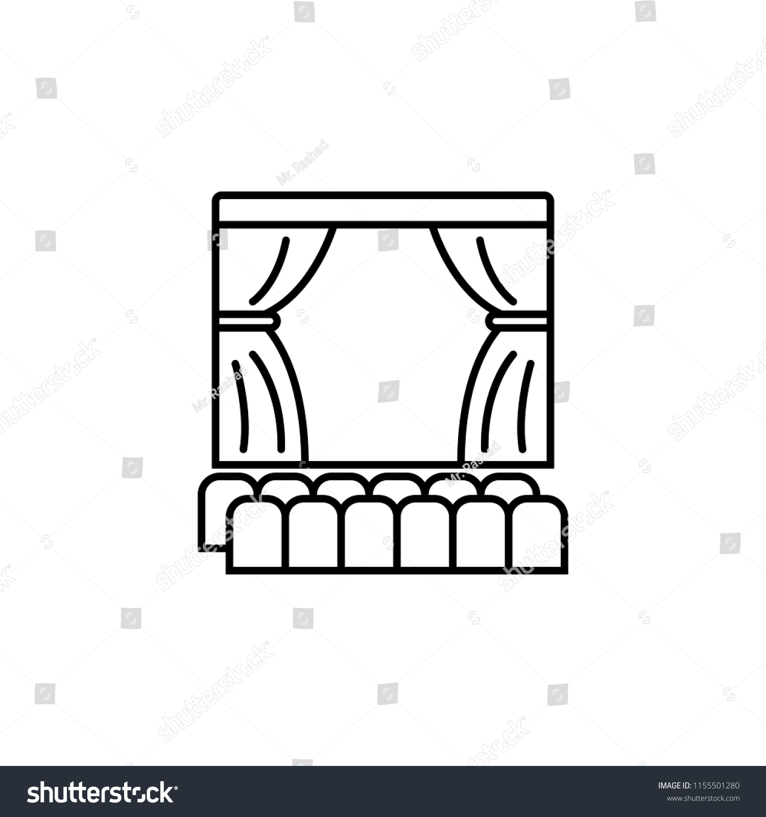 Theater Scene Icon Element Lighting Stock Vector Royalty Free Diagram Of For Mobile Concept And Web Apps Thin