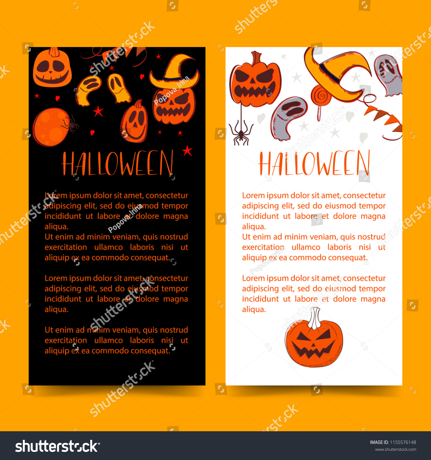 Cards Short Message Symbols Halloween Halloween Stock Vector