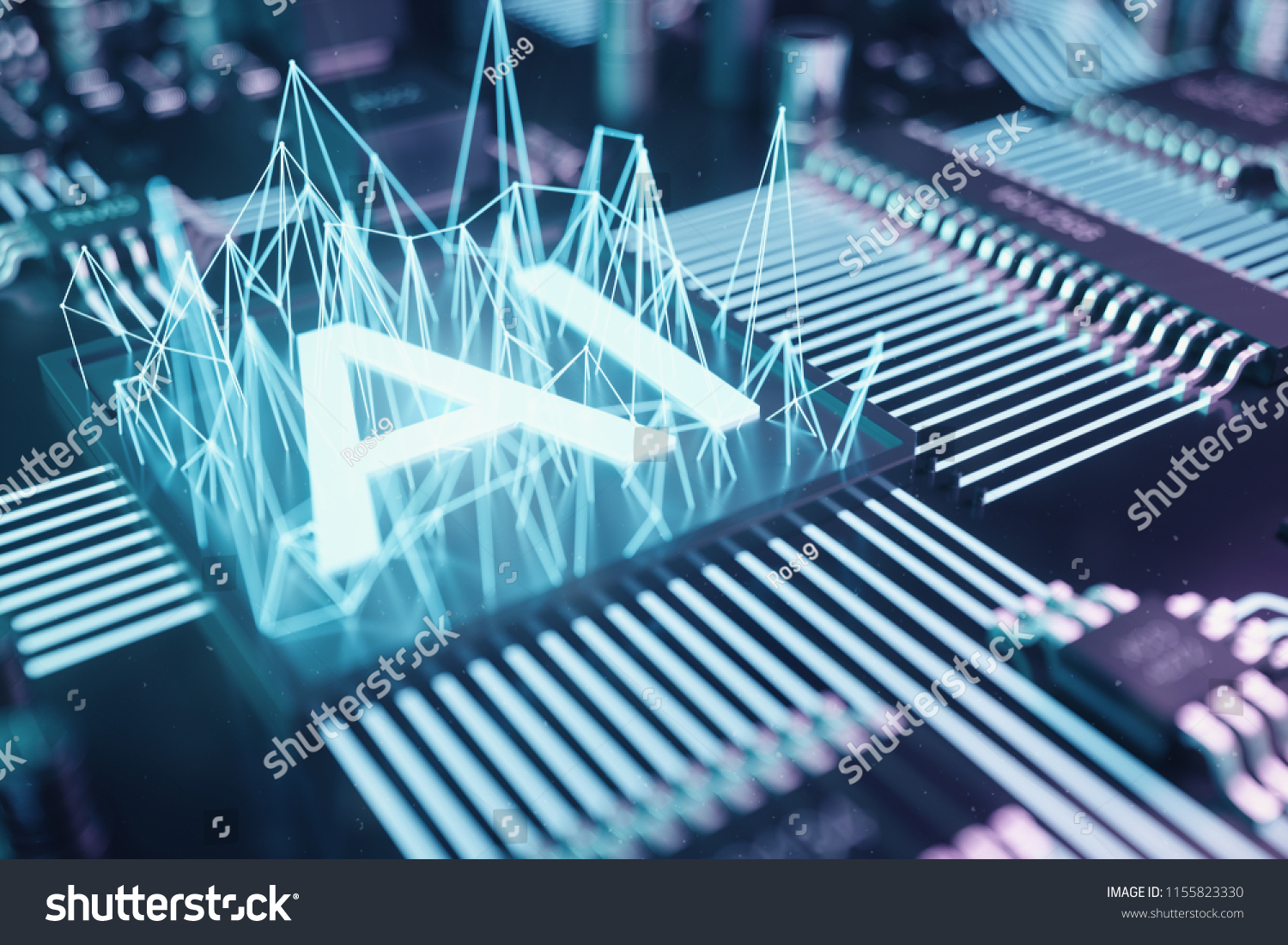 3 D Illustration Abstract Artificial Intelligence On Stock Series Circuit 3d Animated Model Parallel A Printed Board Technology And Engineering Concept