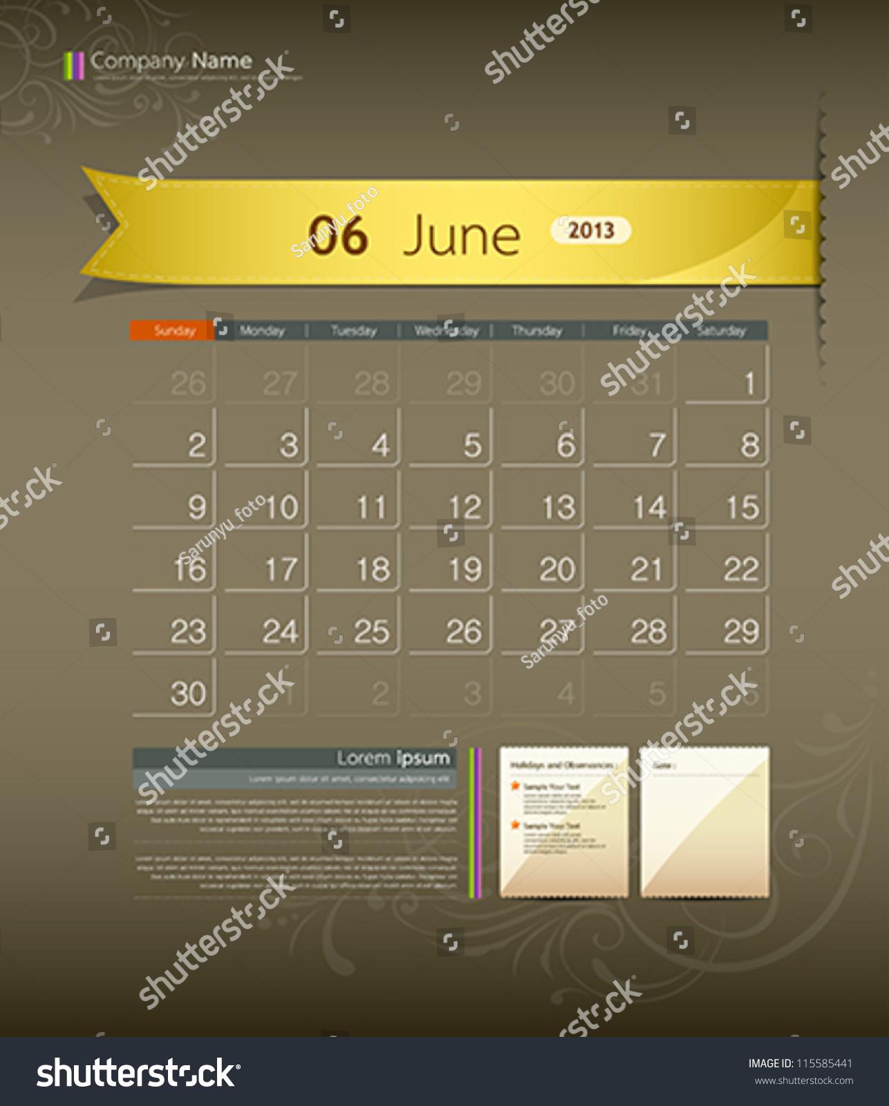 Calendar Ribbon Design : June calendar ribbon design vector illustration