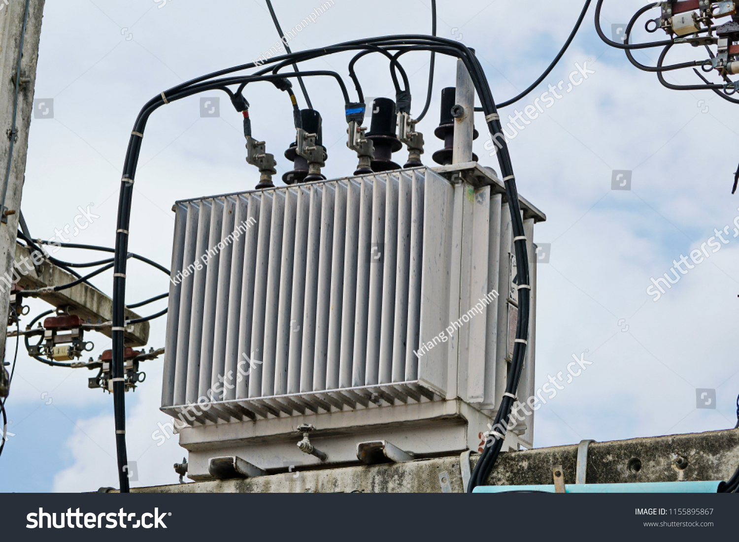 Ac Highvoltage Power Transformer Electrical Energy Stock Photo Edit Wiring High Voltage Transfer To End Users Through Distribution