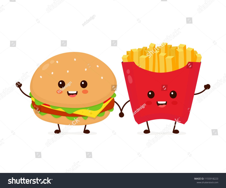 Image Vectorielle De Stock De Joli Et Souriant Kawaii Mignon Hamburger 1155918223