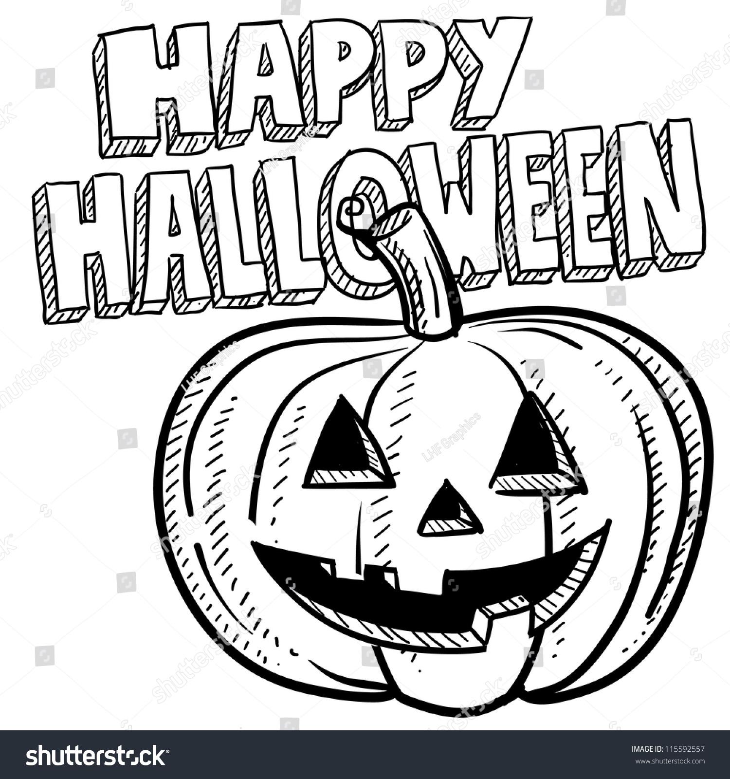 doodle style happy halloween jackolantern illustration stock